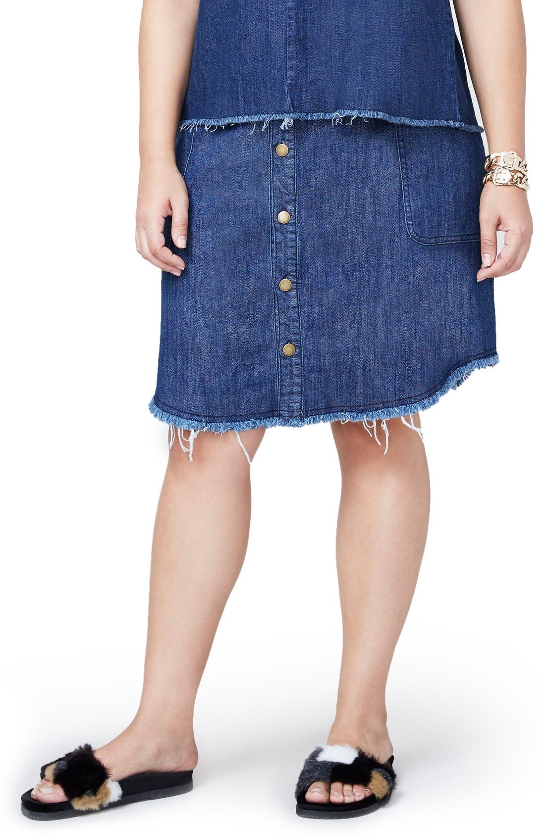 Denim Button Front Skirt,                         Main,                         color, Dark Wash