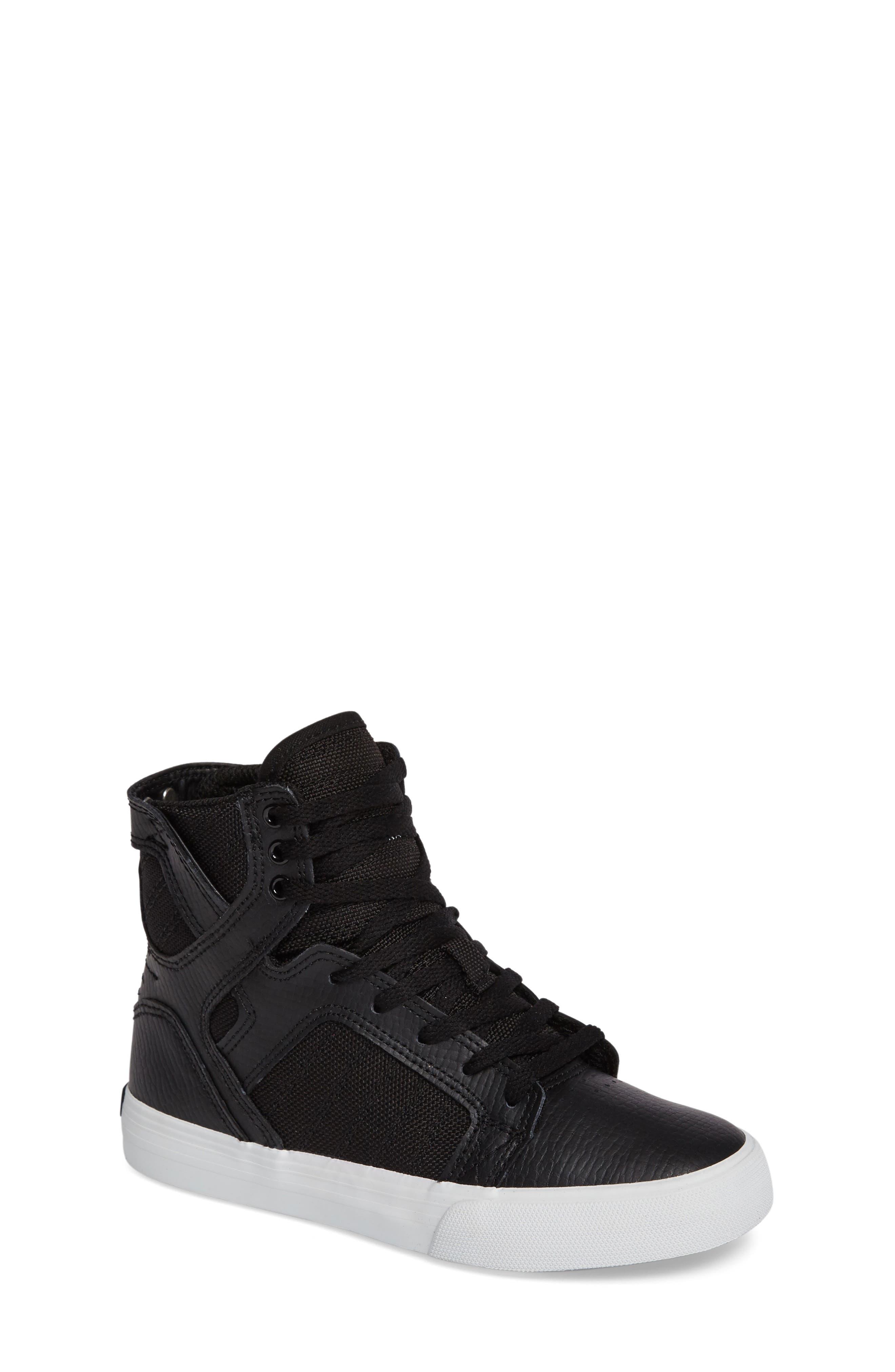 'Skytop' High Top Sneaker,                             Main thumbnail 1, color,                             Black/ White
