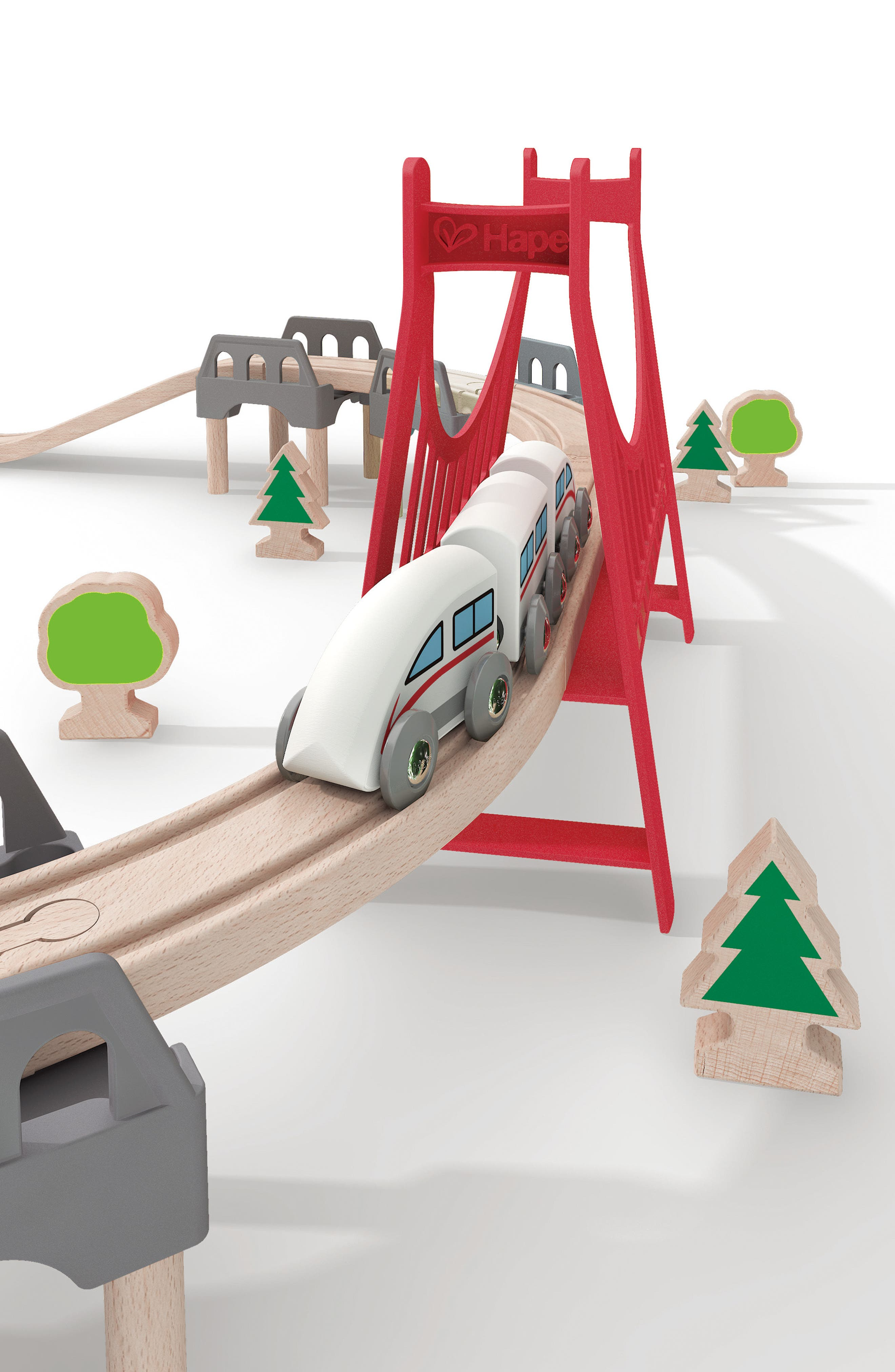 Double Loop Railway Wooden Train Set,                             Alternate thumbnail 2, color,                             Multi