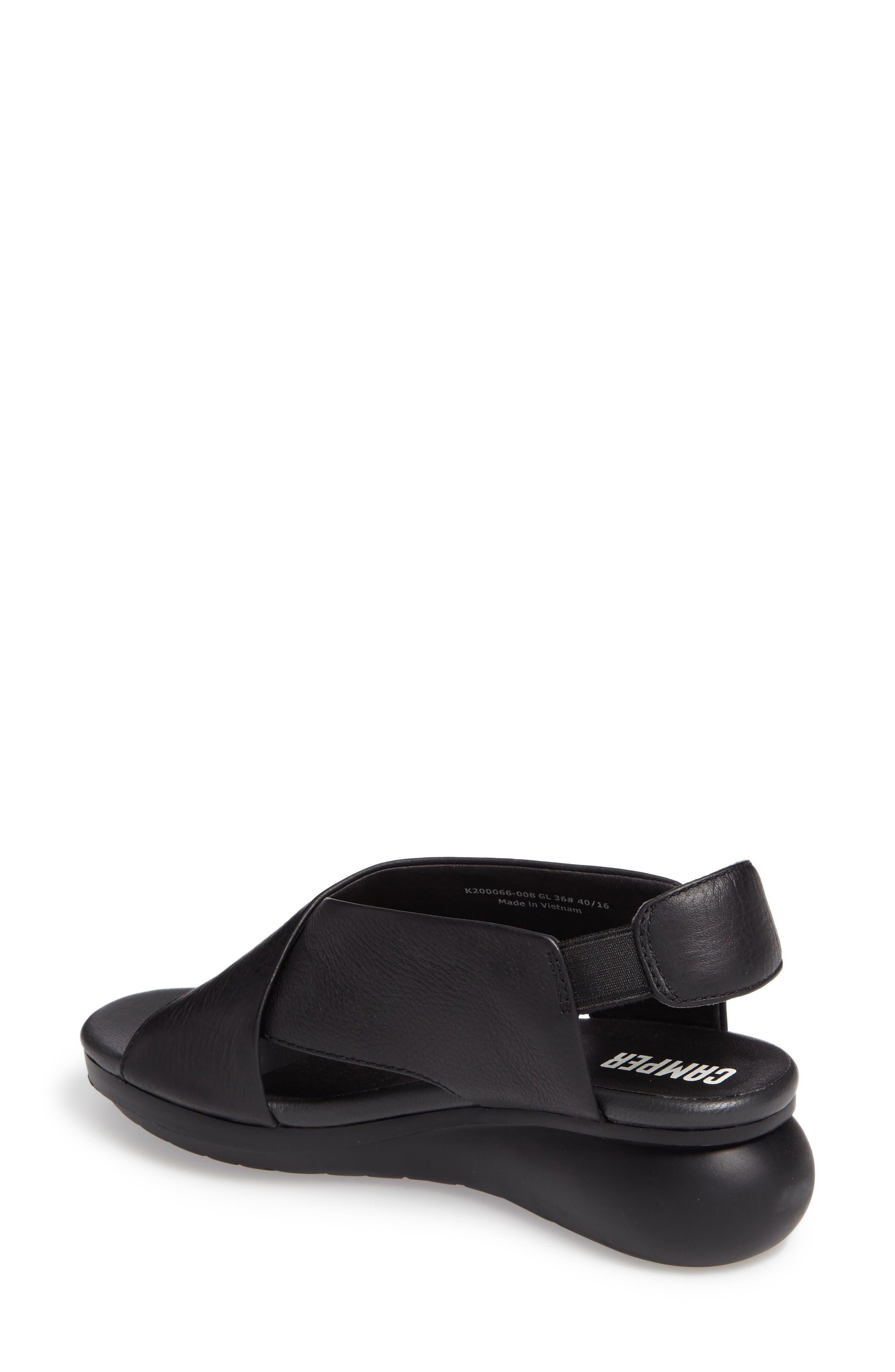 Balloon Slingback Wedge Sandal,                             Alternate thumbnail 2, color,                             Black Leather