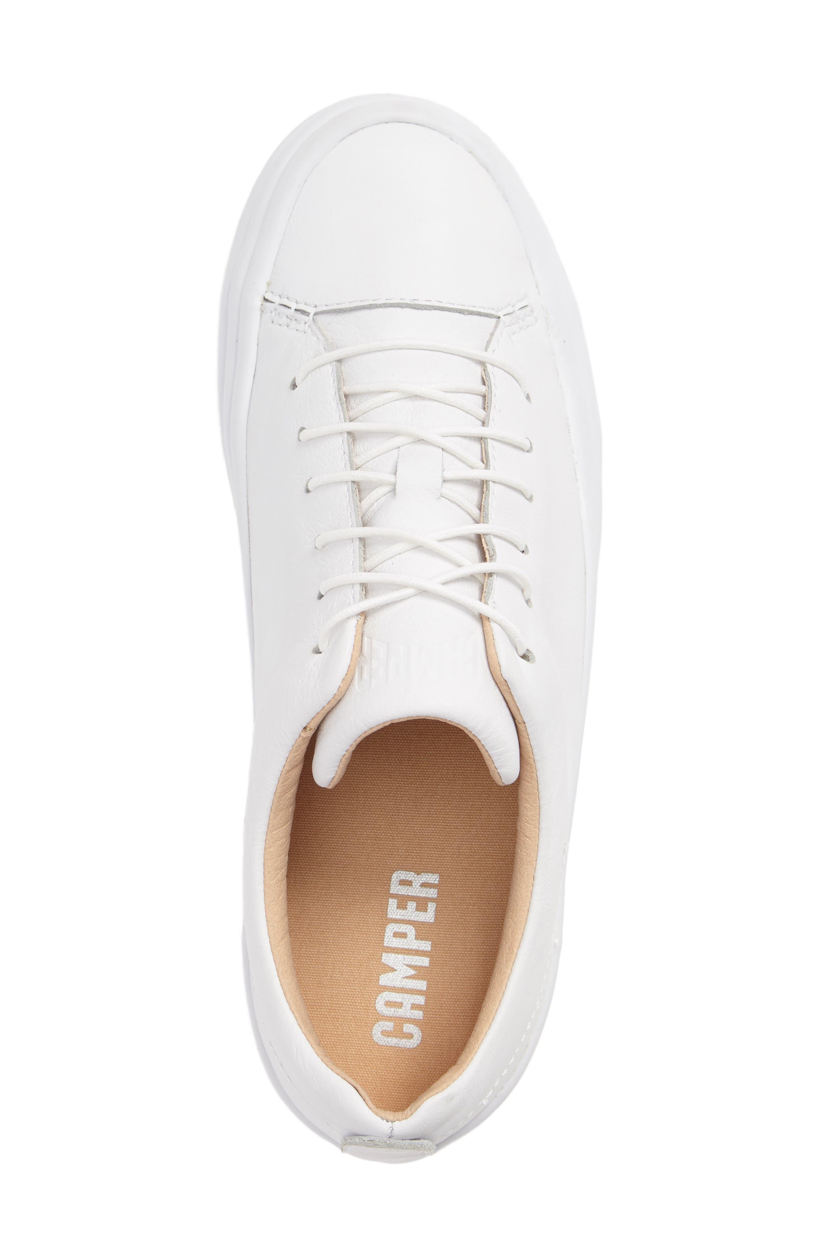 Hoops Sneaker,                             Alternate thumbnail 3, color,                             White Leather