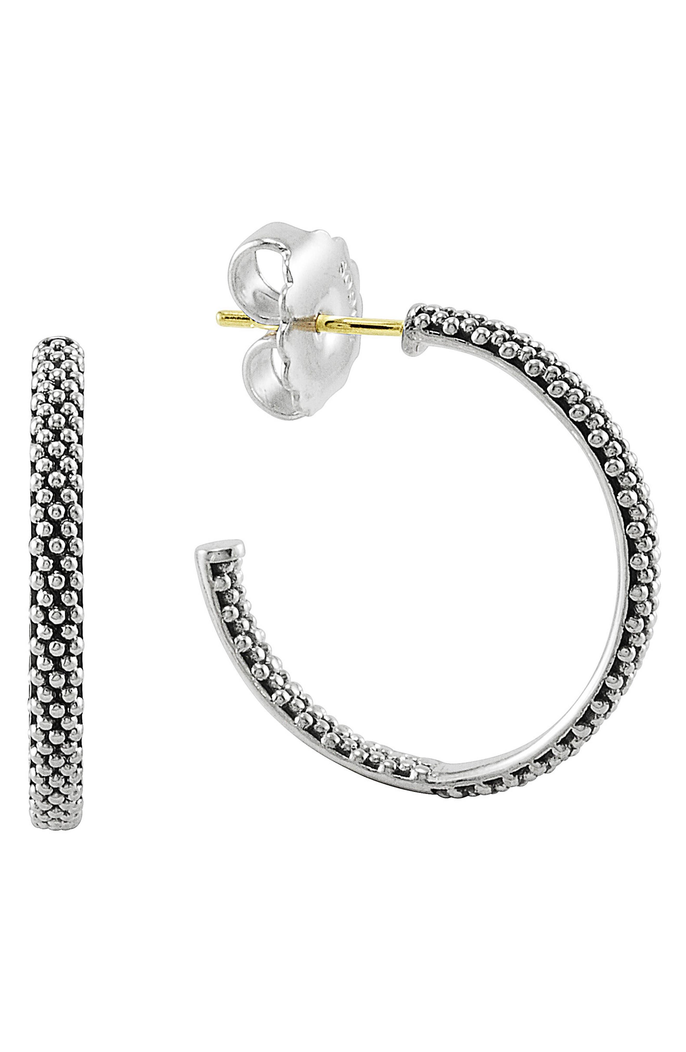 Caviar Hoop Earrings,                         Main,                         color, Sterling Silver