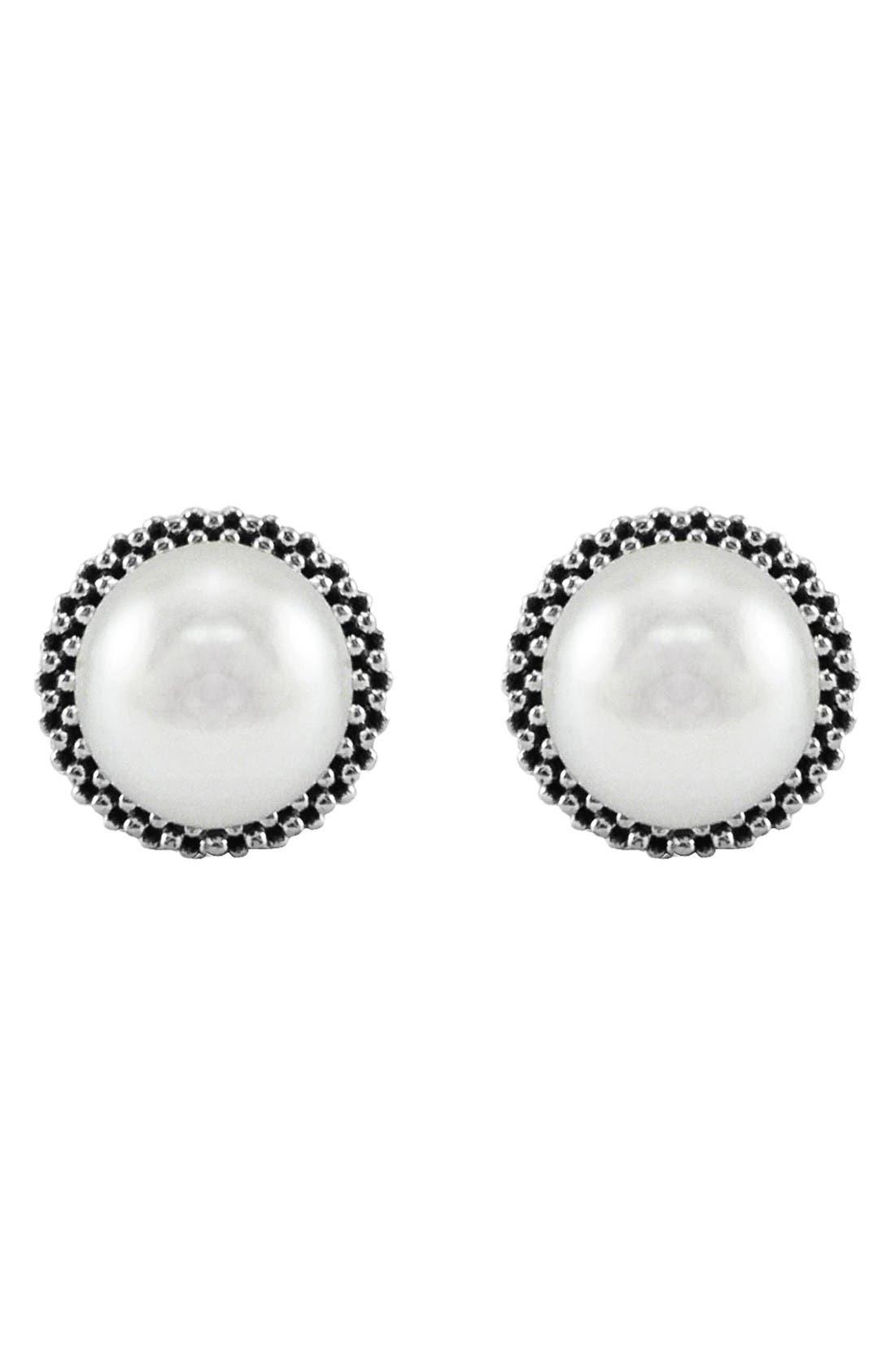 Alternate Image 2  - LAGOS 'Luna' Pearl Small Stud Earrings