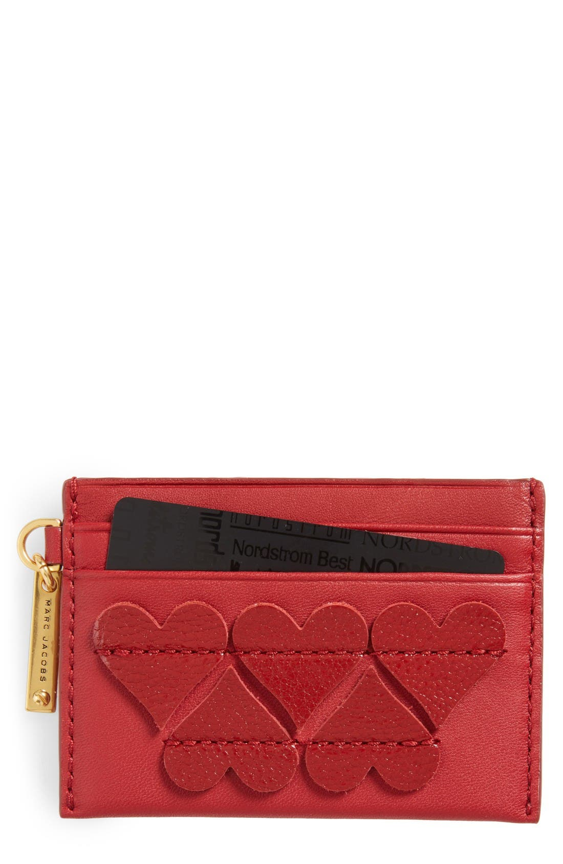 Alternate Image 1 Selected - MARC JACOBS Heart Leather Card Case