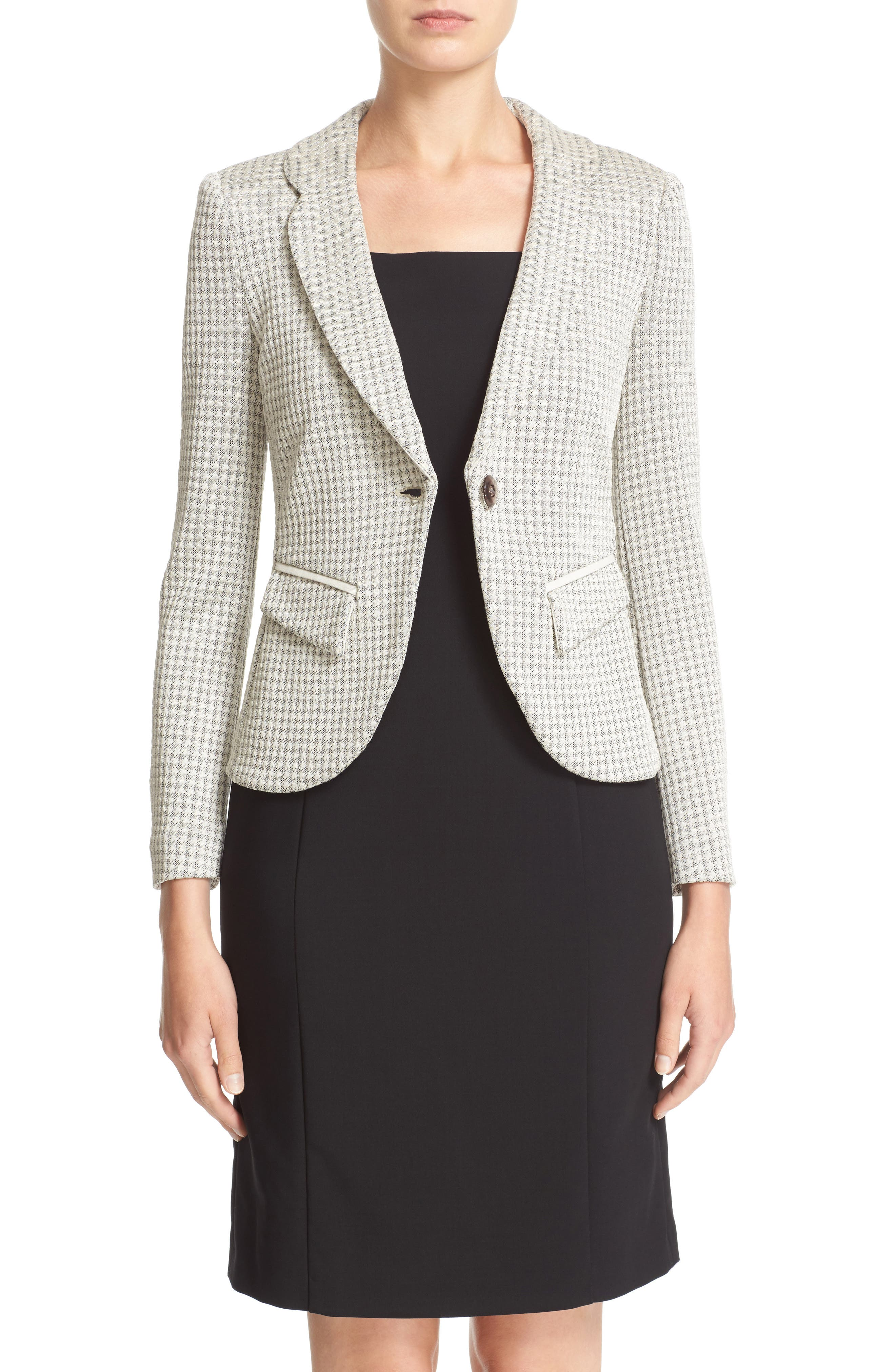 Main Image - Armani Collezioni Houndstooth Jersey One-Button Blazer