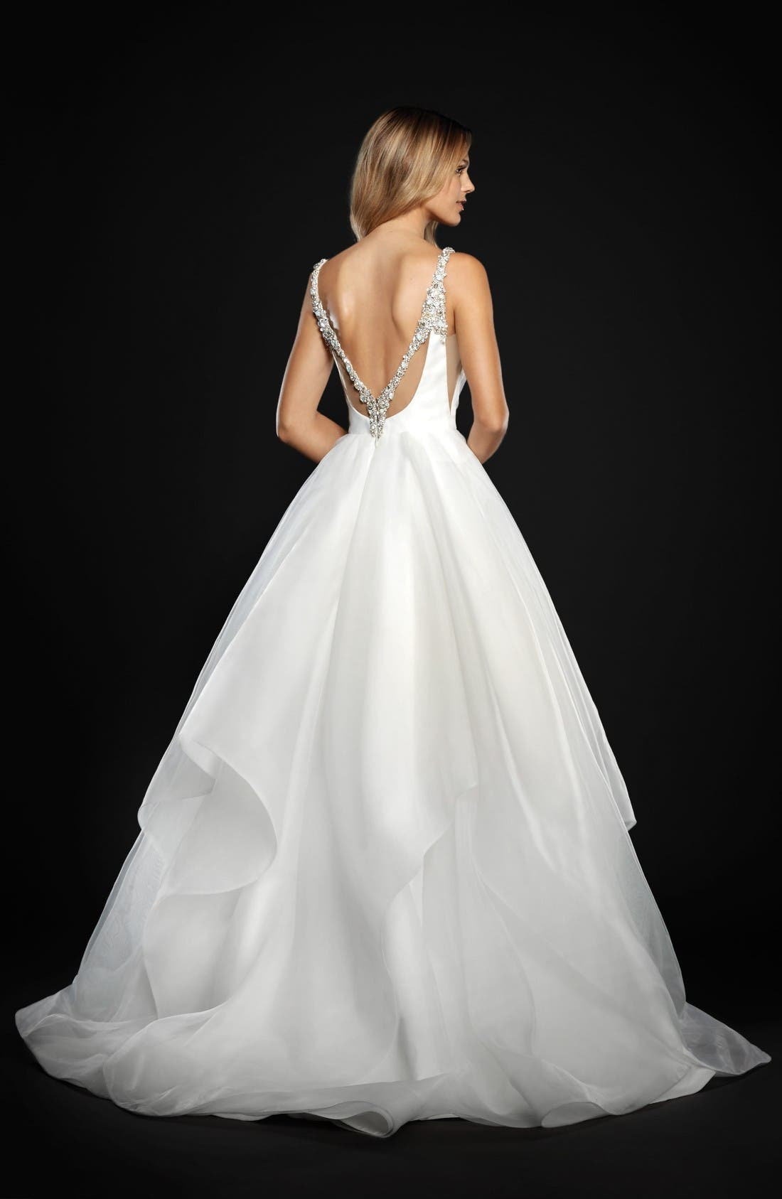 Dare Embellished Draped Organza Ballgown,                             Alternate thumbnail 2, color,                             Ivory
