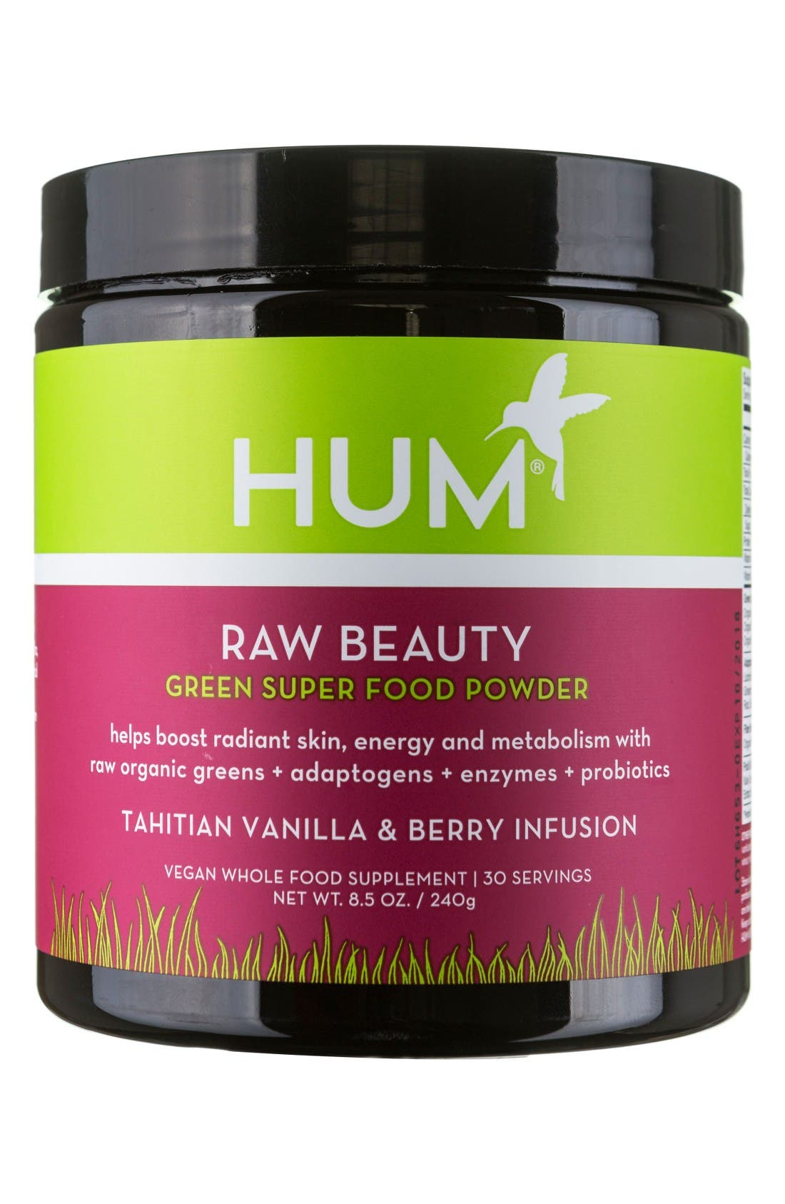 Hum Nutrition Raw Beauty Tahitian Vanilla & Berry Infusion Skin & Energy Green Superfood Powder