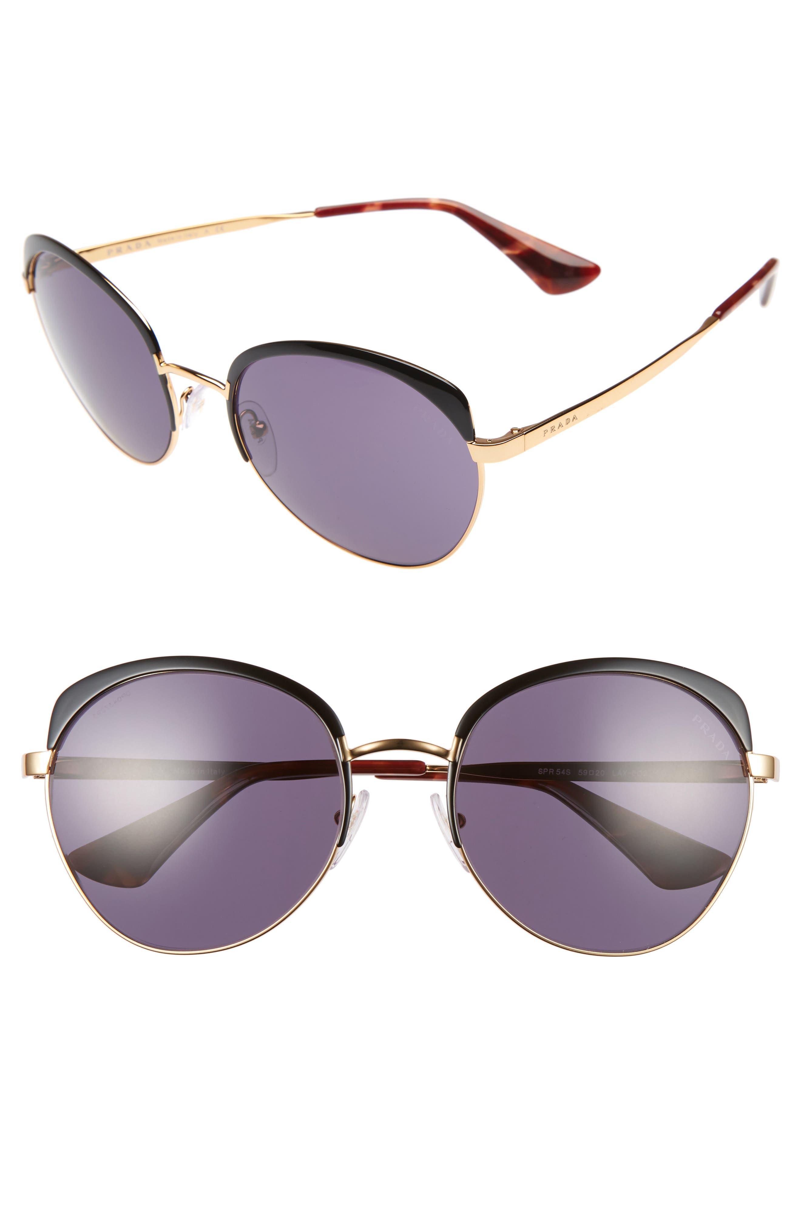 59mm Sunglasses,                         Main,                         color, Black/ Gold