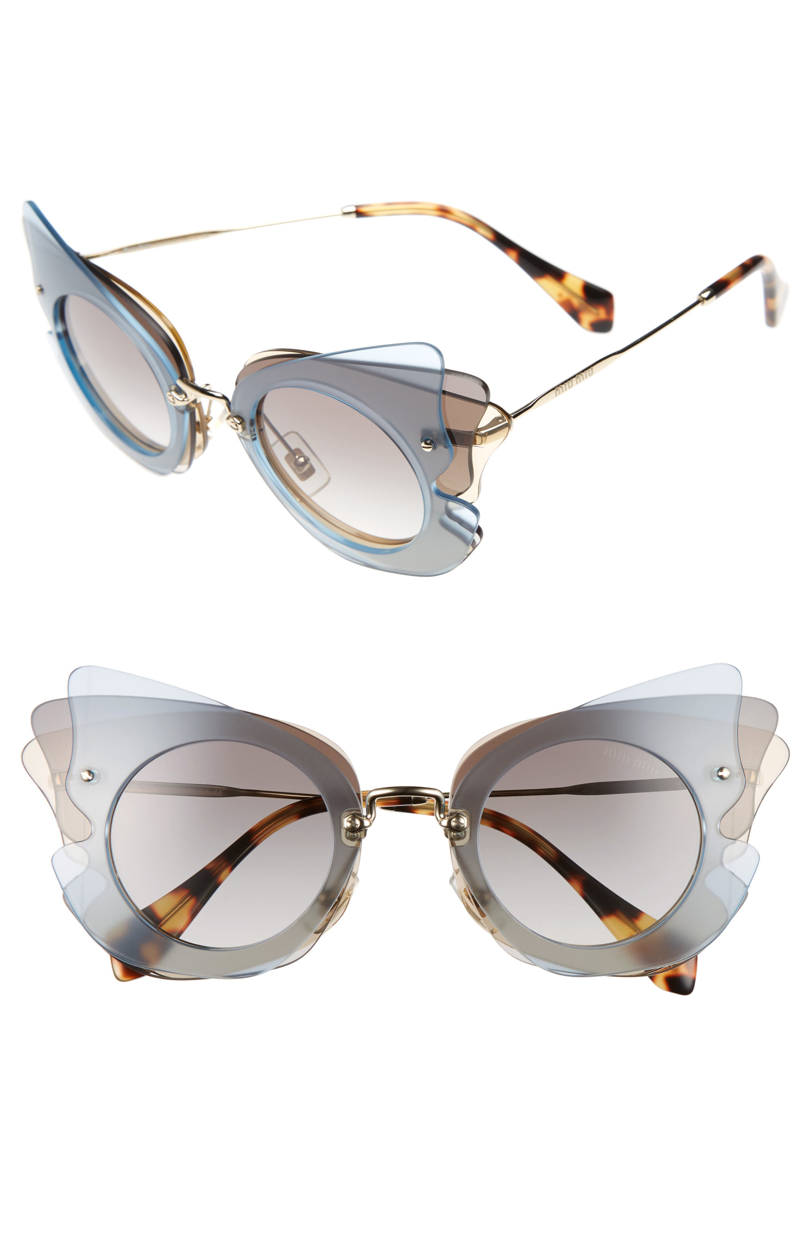 63mm Butterfly Sunglasses,                             Main thumbnail 1, color,                             Gold/ Azure