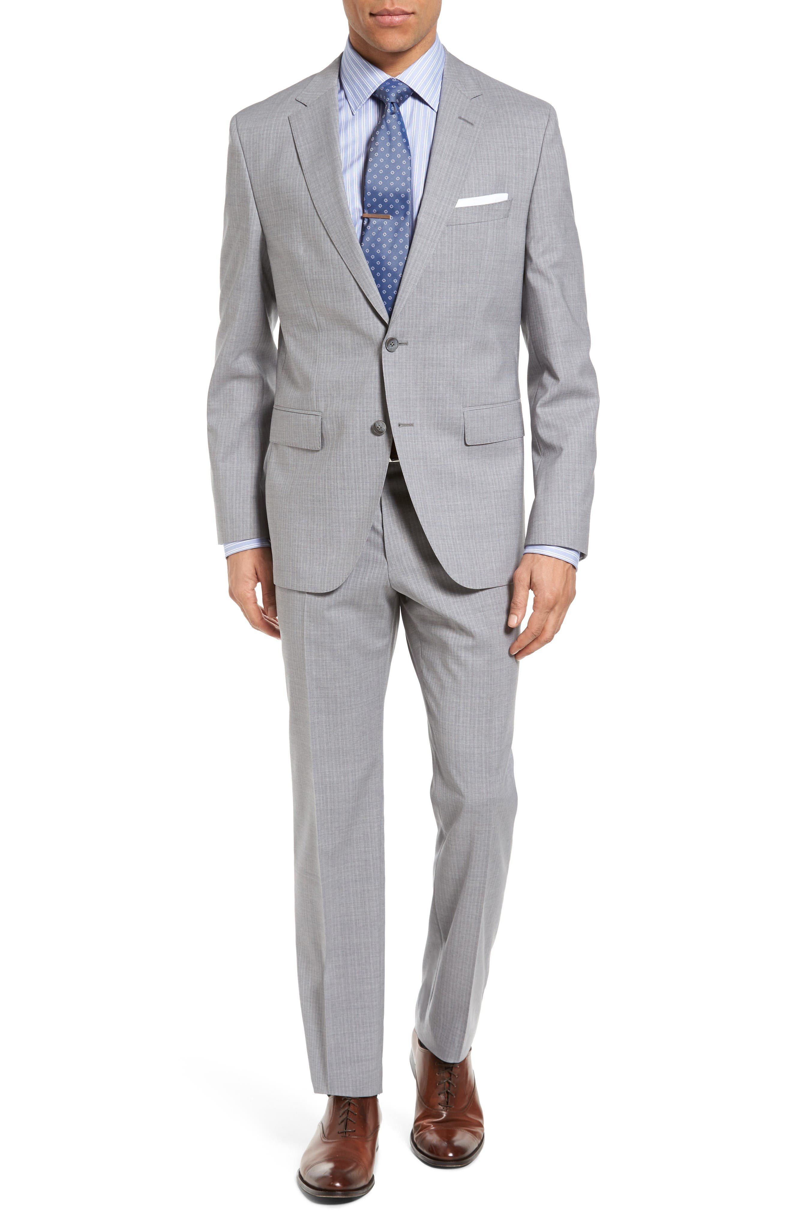 BOSS Jewels/Linus Trim Fit Stripe Wool Suit
