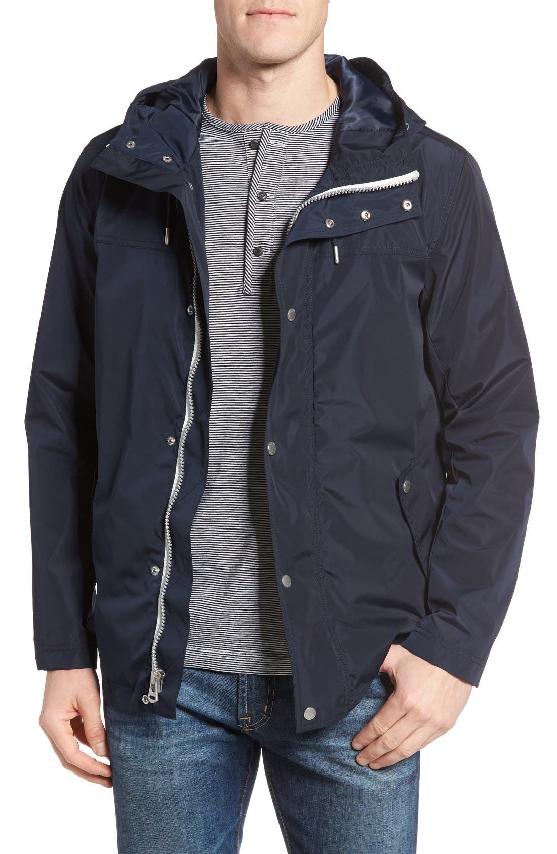 Packable Hooded Rain Jacket,                         Main,                         color, Navy