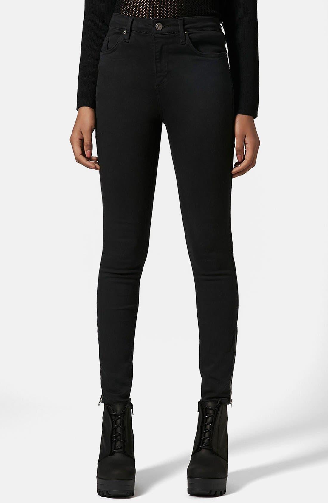 Alternate Image 1 Selected - Topshop Moto 'Jamie' Ankle Zip Skinny Jeans (Black) (Regular & Short)