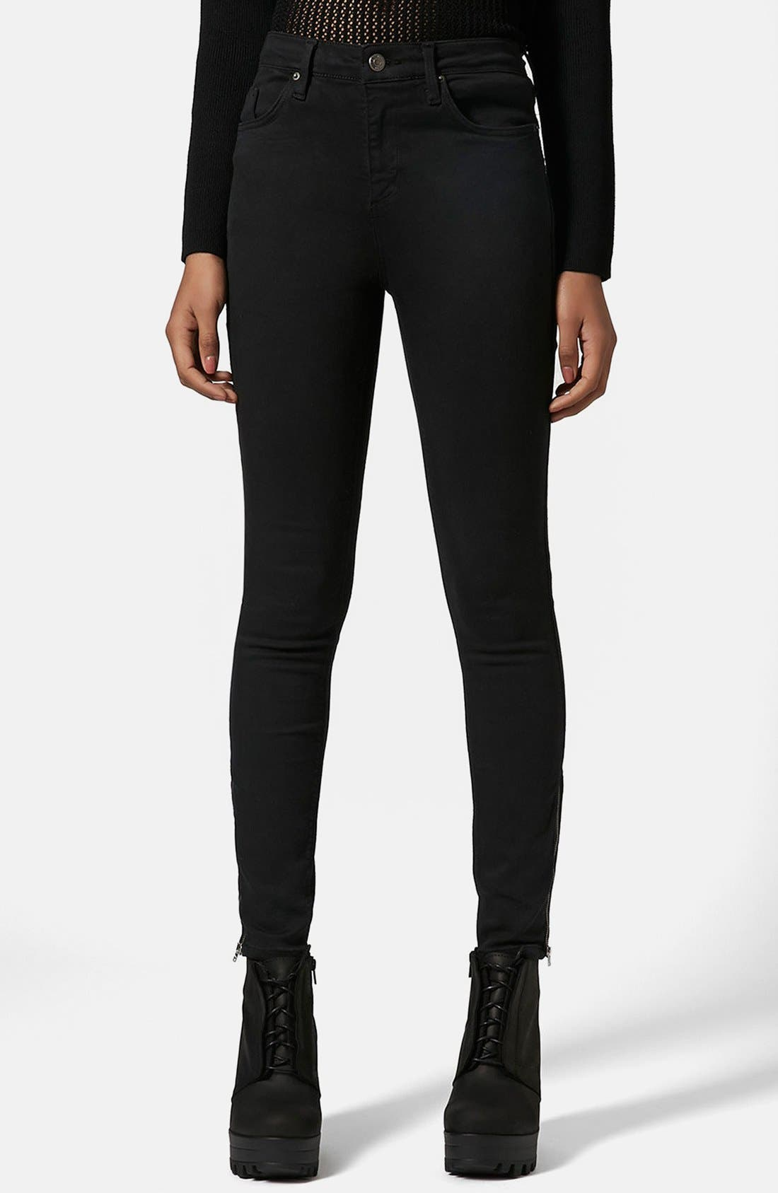 Main Image - Topshop Moto 'Jamie' Ankle Zip Skinny Jeans (Black) (Regular & Short)