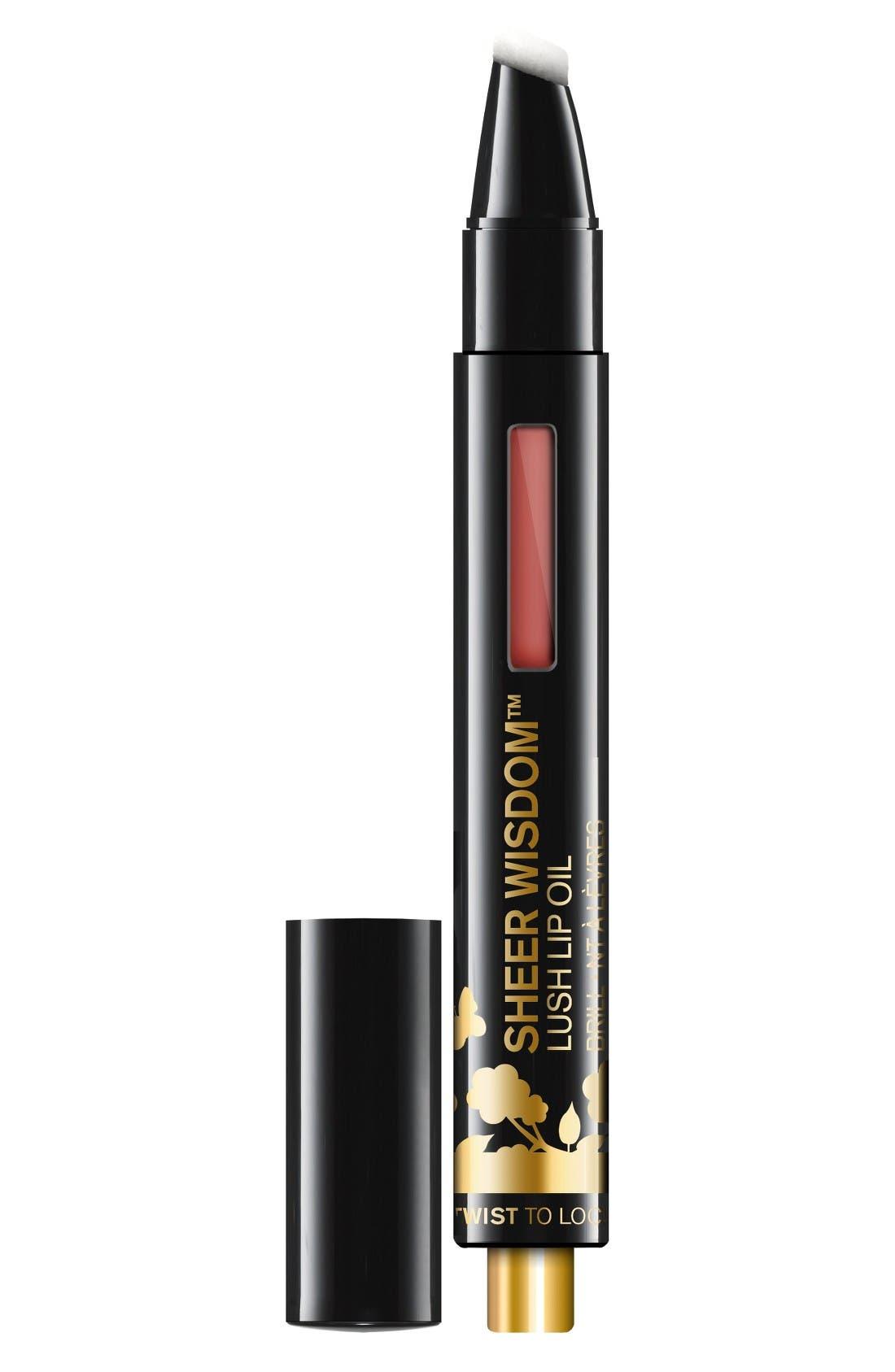 Sheer Wisdom Lip Oil,                             Main thumbnail 1, color,                             Cinnamon Spice