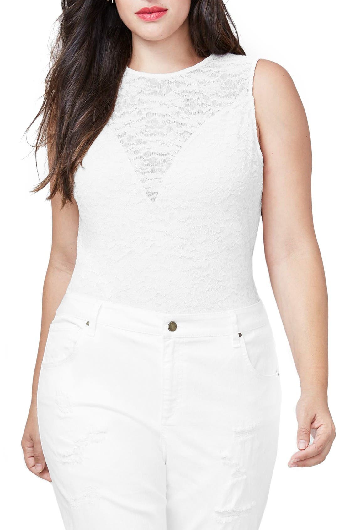Lace Bodysuit,                         Main,                         color, Almond Milk