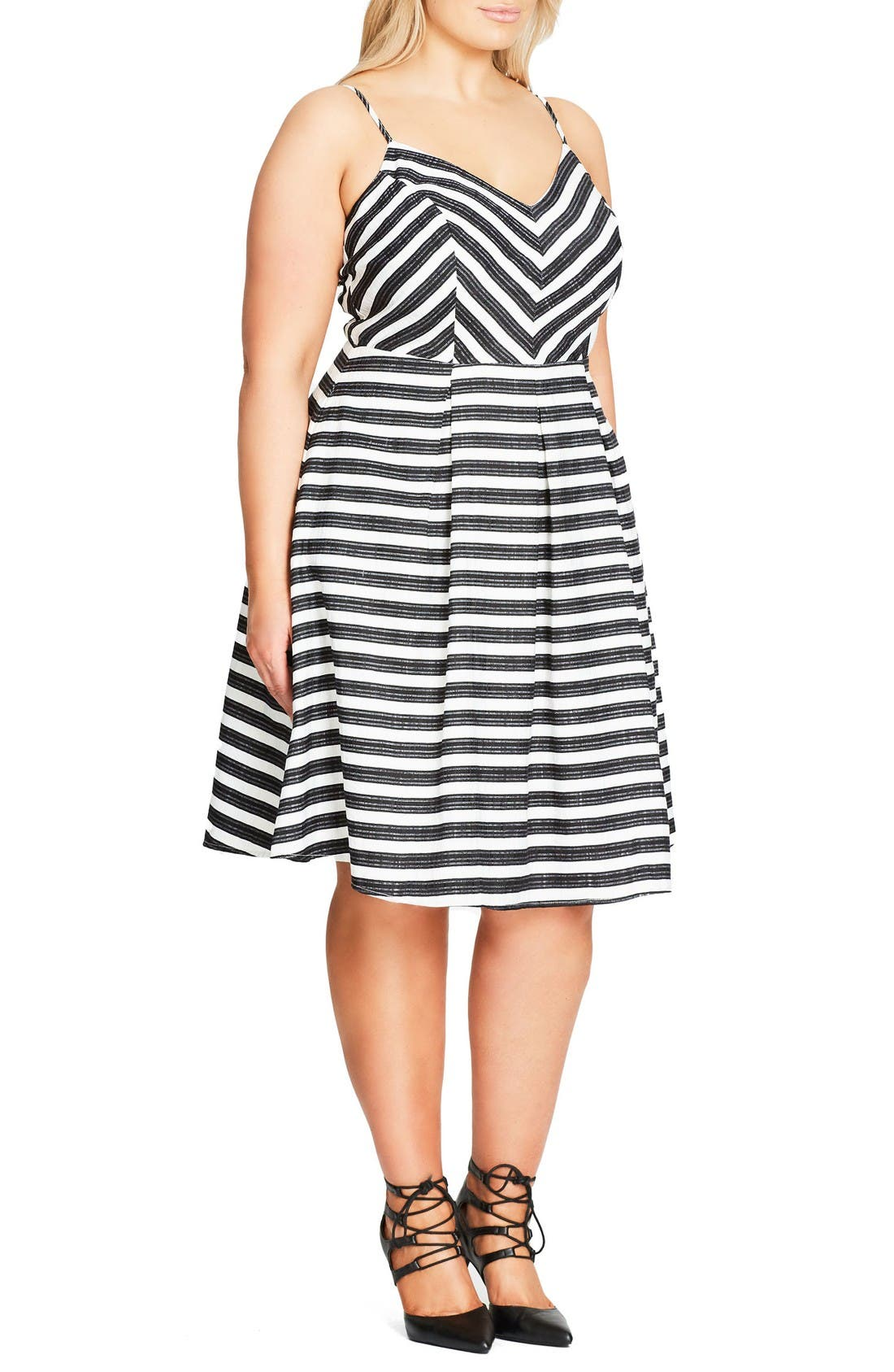 Alternate Image 3  - City Chic Marilyn Stripe Fit & Flare Sundress (Plus Size)