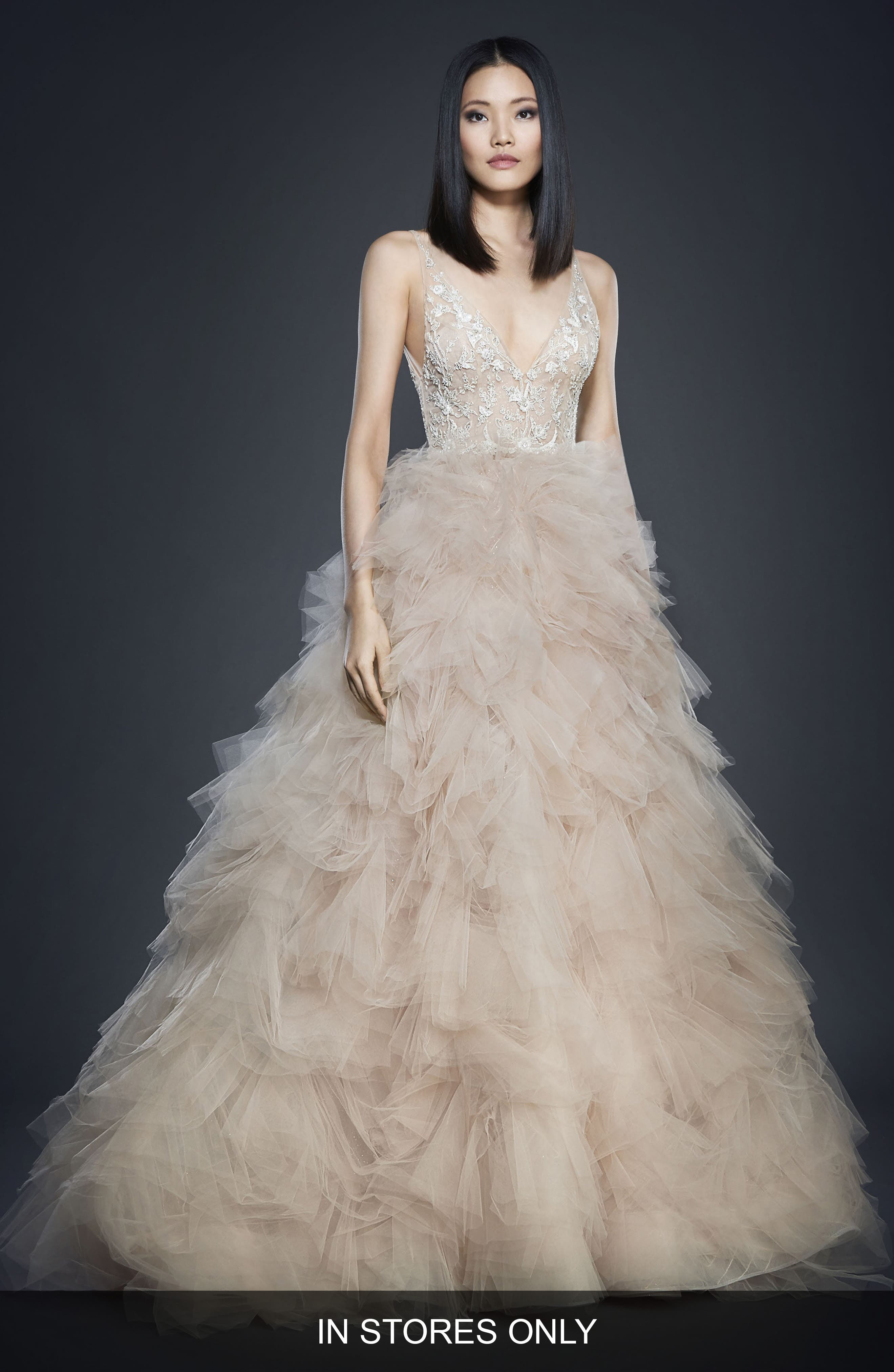 Beaded Bodice Tulle Ballgown,                         Main,                         color, Nude/ Cashmere