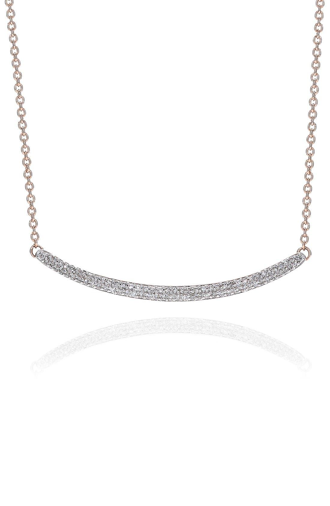 Skinny Diamond Necklace,                             Alternate thumbnail 3, color,                             Rose Gold