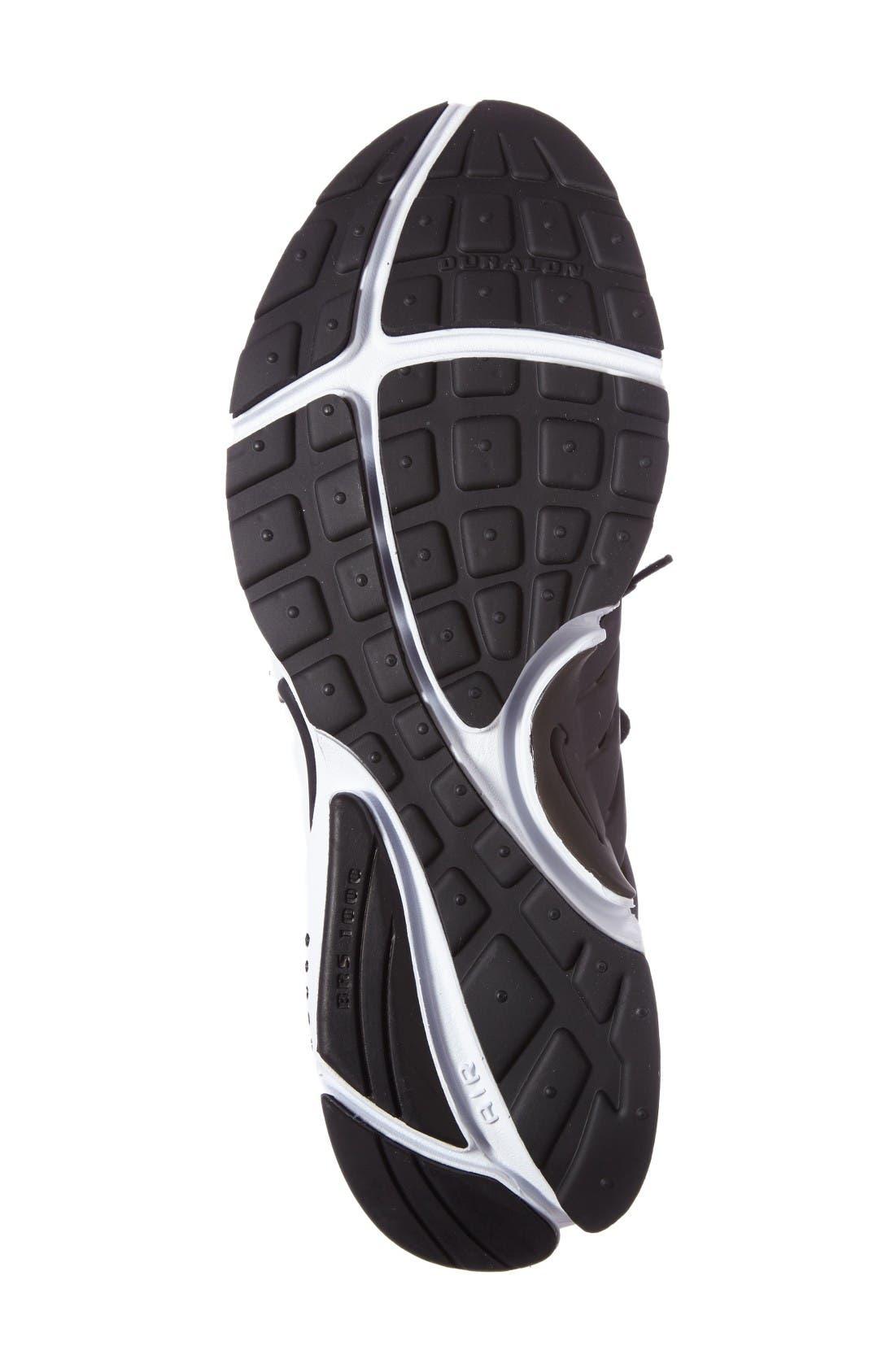 Air Presto Essential Sneaker,                             Alternate thumbnail 4, color,                             Black/ Black/ White
