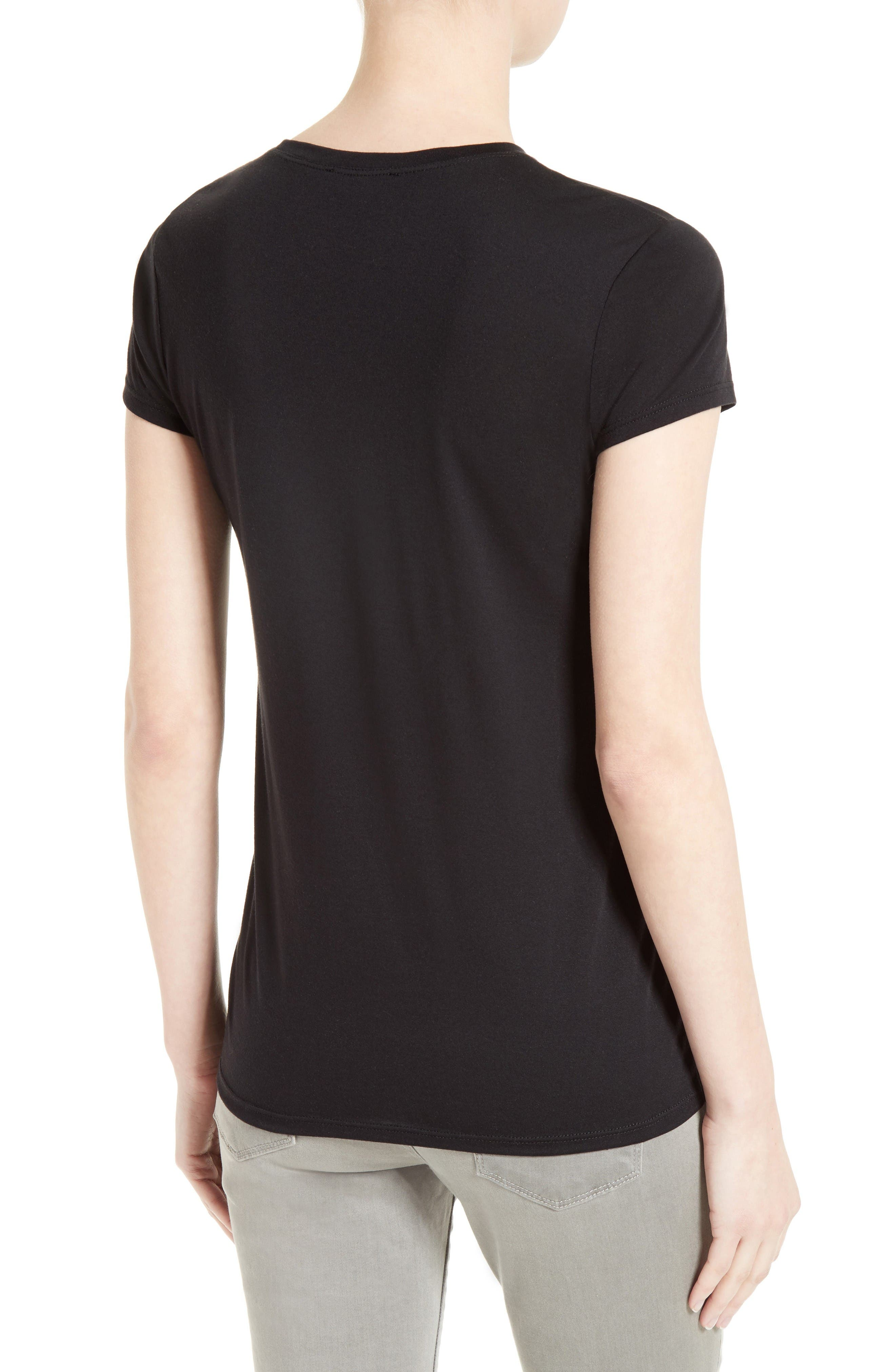 Cotton & Modal Fitted Tee,                             Alternate thumbnail 2, color,                             Black