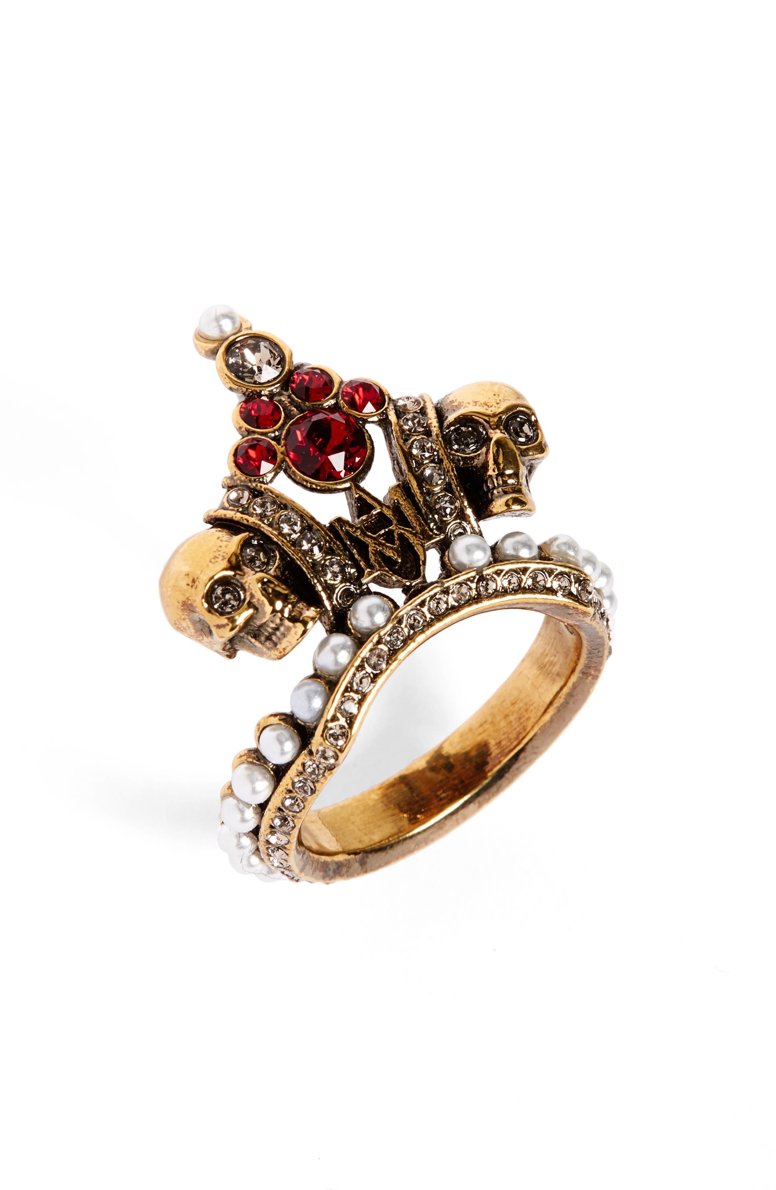 Alexander McQueen Crown Skull Statement Ring