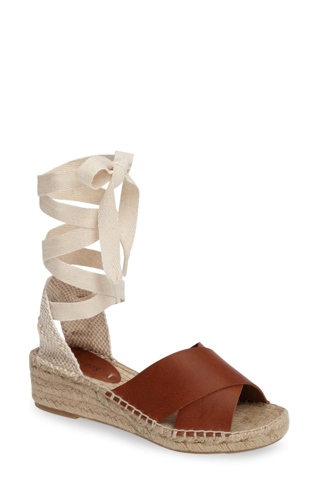 Espadrille Wedge,                         Main,                         color, Camel Leather