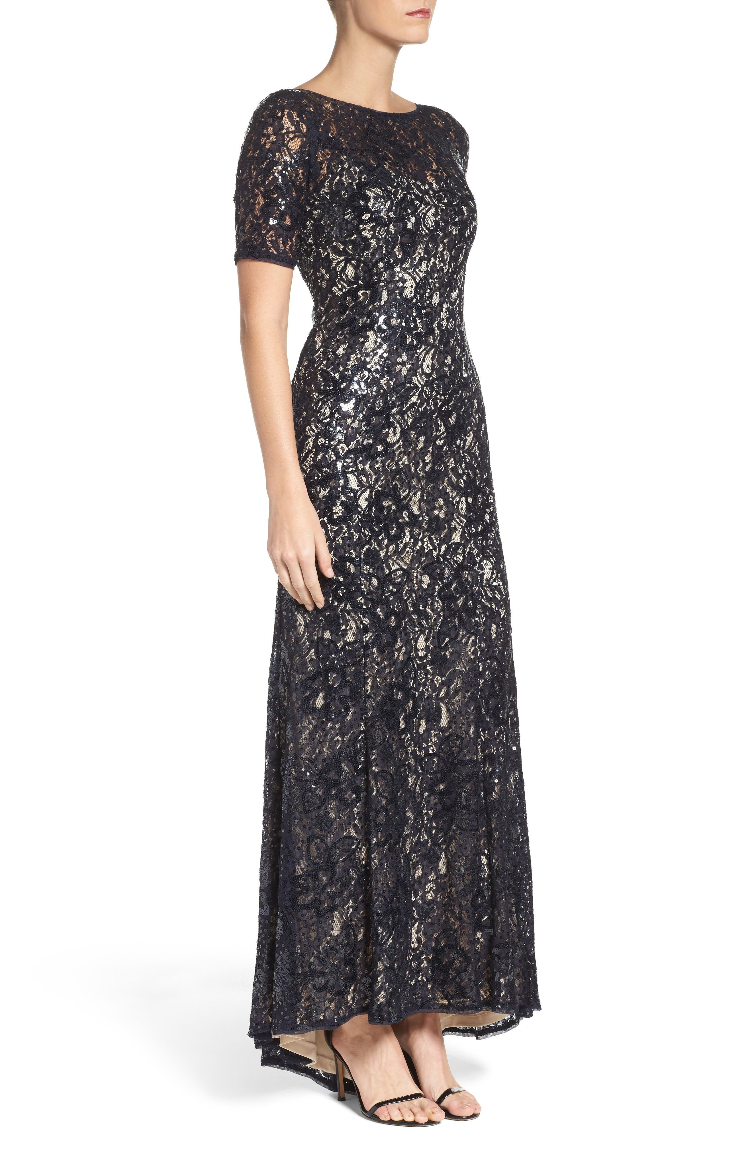 Sequin Lace Gown,                             Alternate thumbnail 3, color,                             Midnight/ Nude