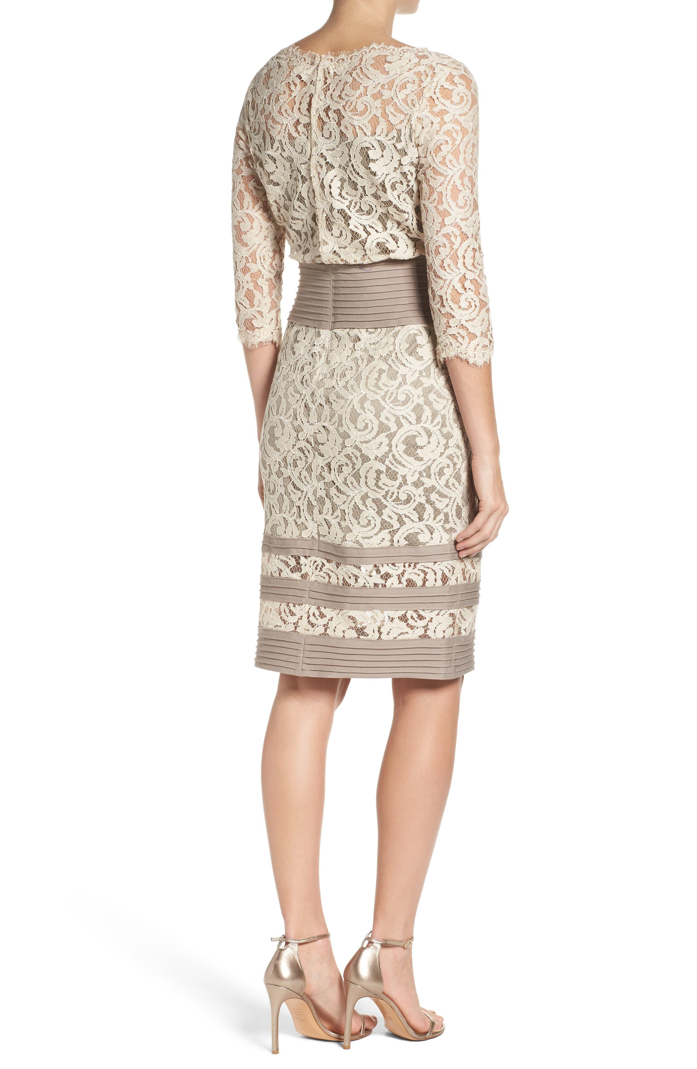 Alternate Image 2  - Tadashi Shoji Pleat Waist Lace Blouson Dress