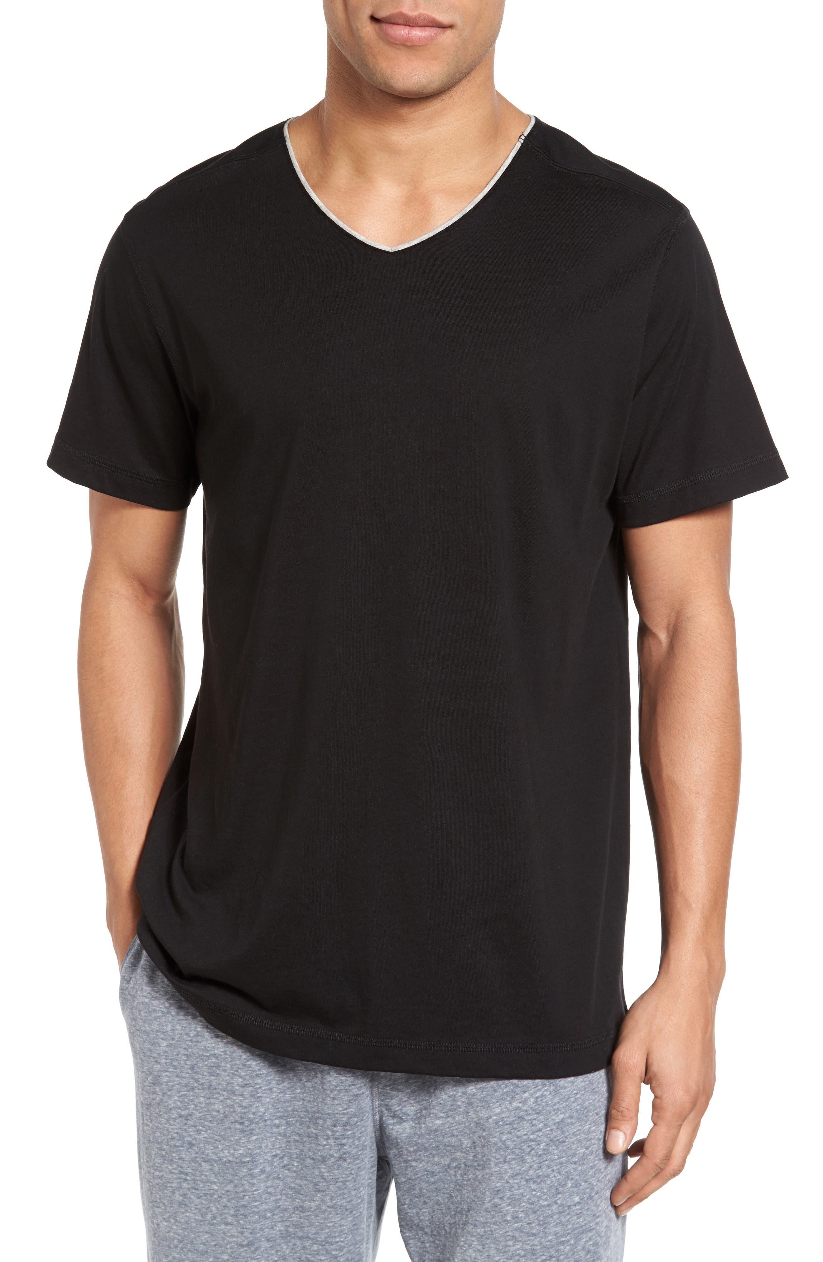 Peruvian Pima Cotton V-Neck T-Shirt,                         Main,                         color, Black