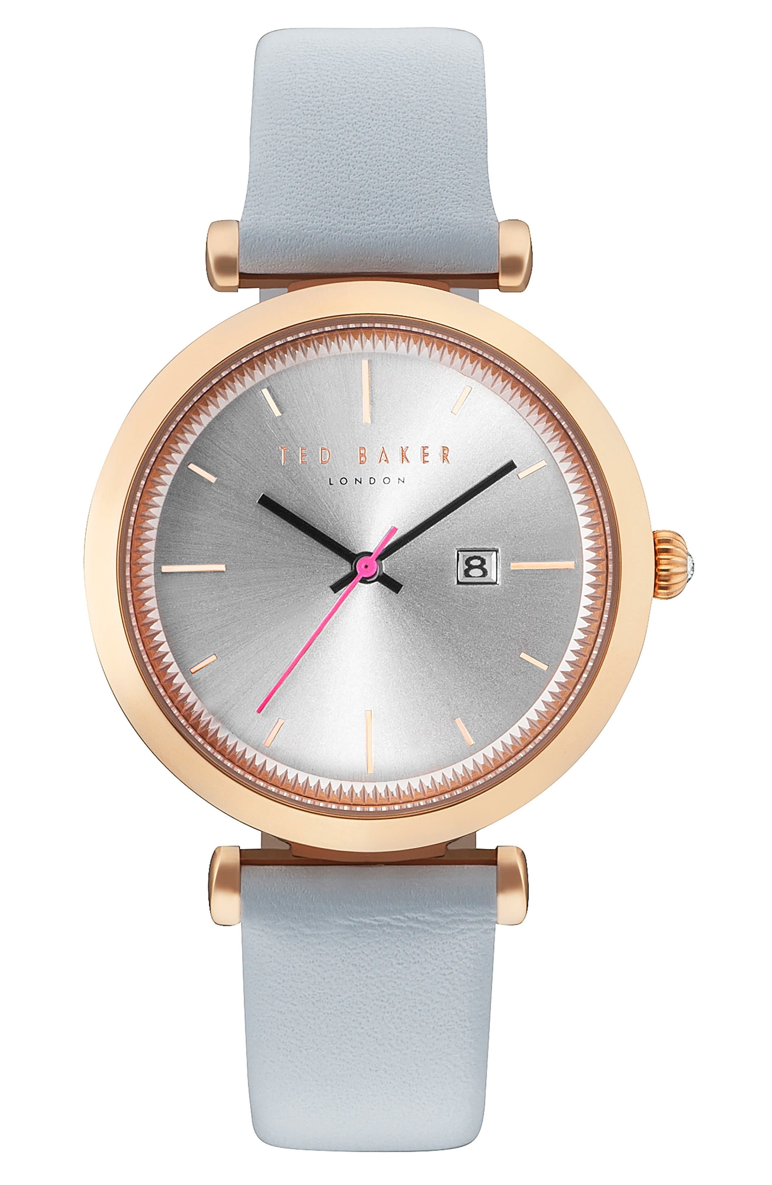 Ava Leather Strap Watch, 36mm,                         Main,                         color, Light Blue/ Silver/ Rose Gold