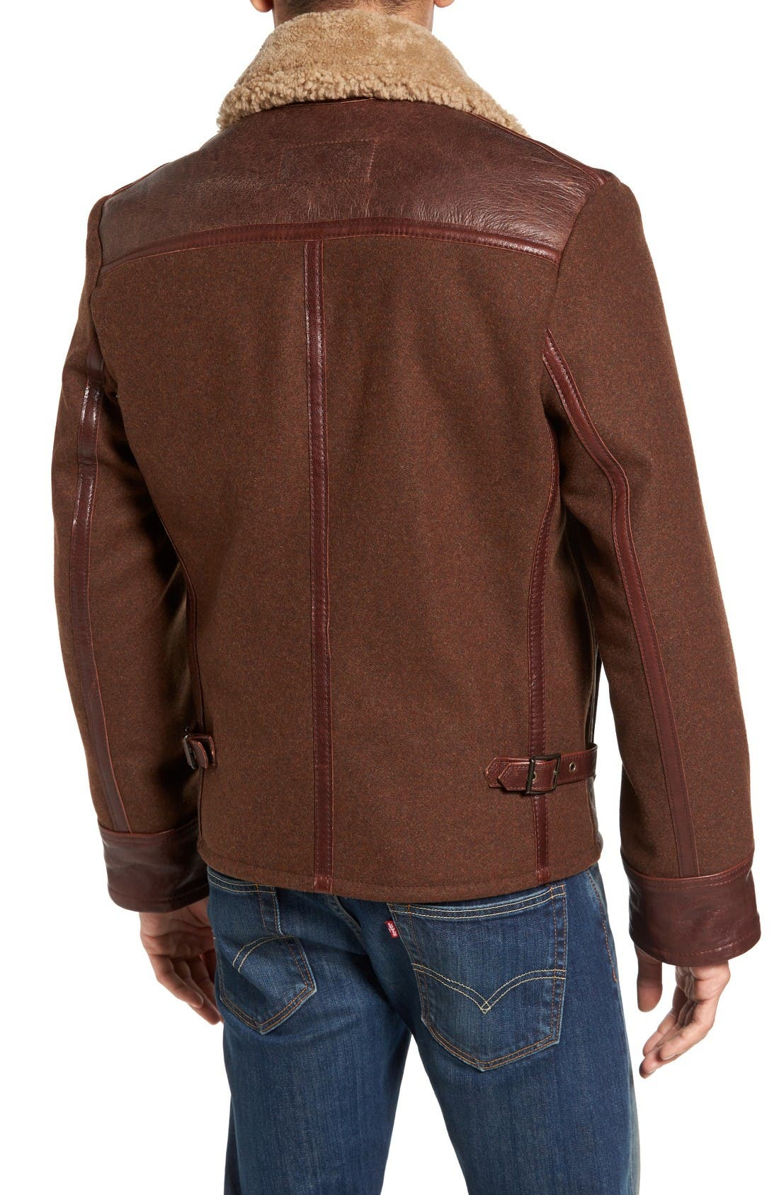 Mixed Media Flight Jacket with Genuine Shearling Collar & Lining,                             Alternate thumbnail 2, color,                             Brown