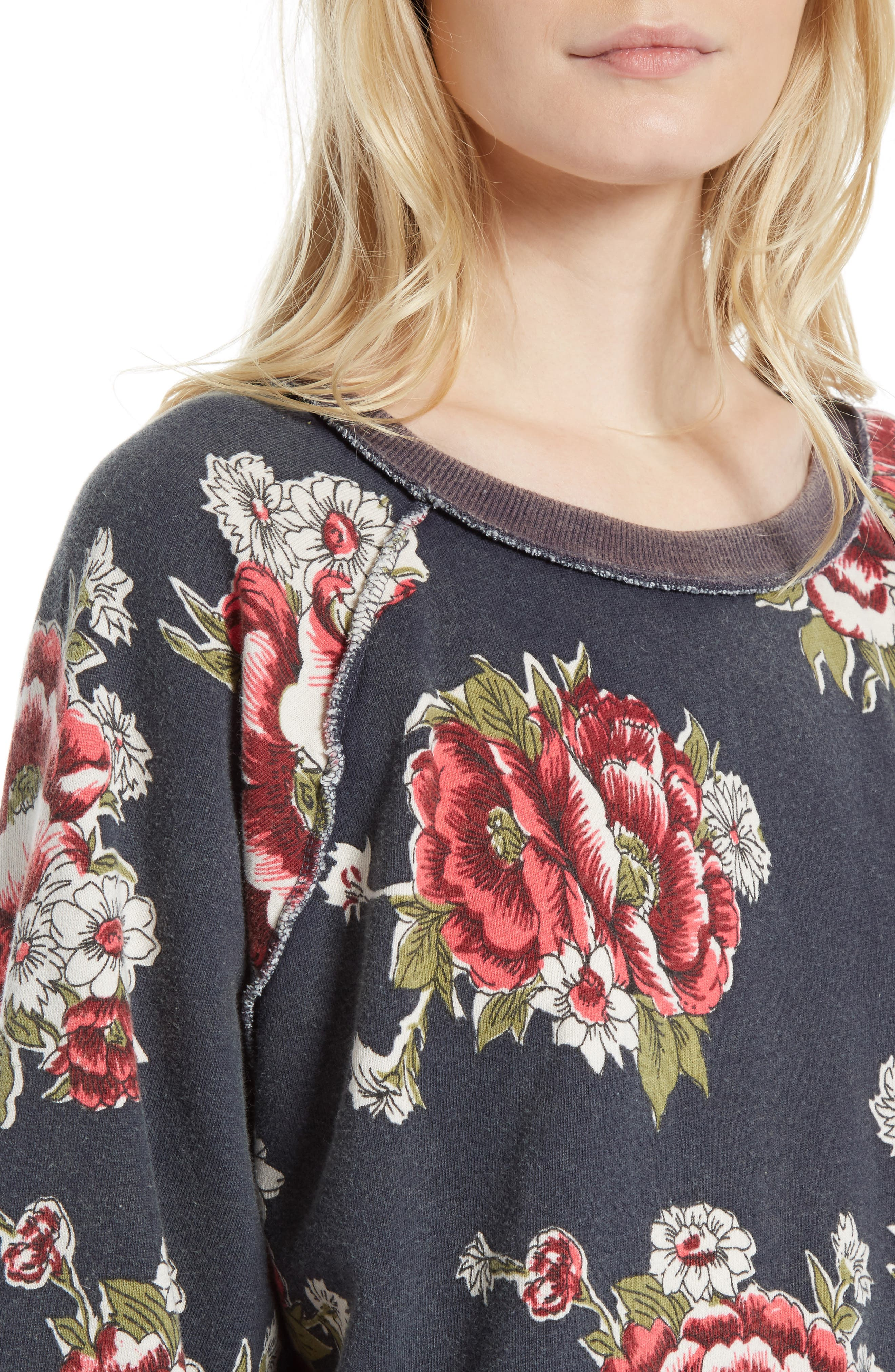 Go on Get Floral Sweatshirt,                             Alternate thumbnail 4, color,                             Black