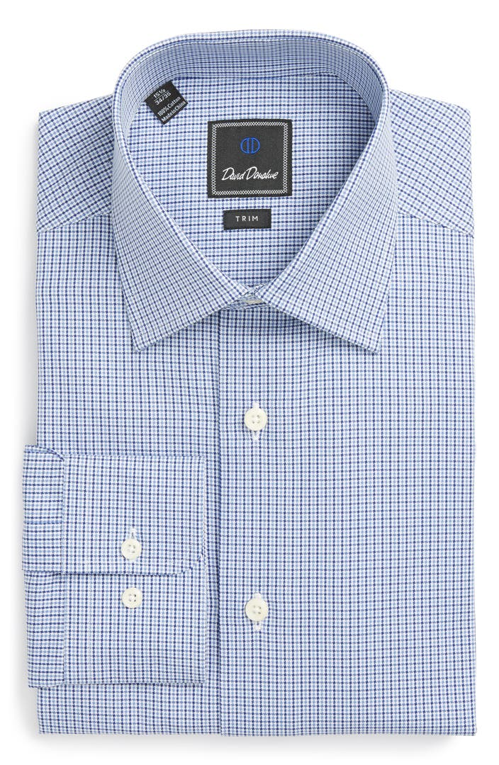 David donahue trim fit houndstooth dress shirt nordstrom for David donahue french cuff shirts