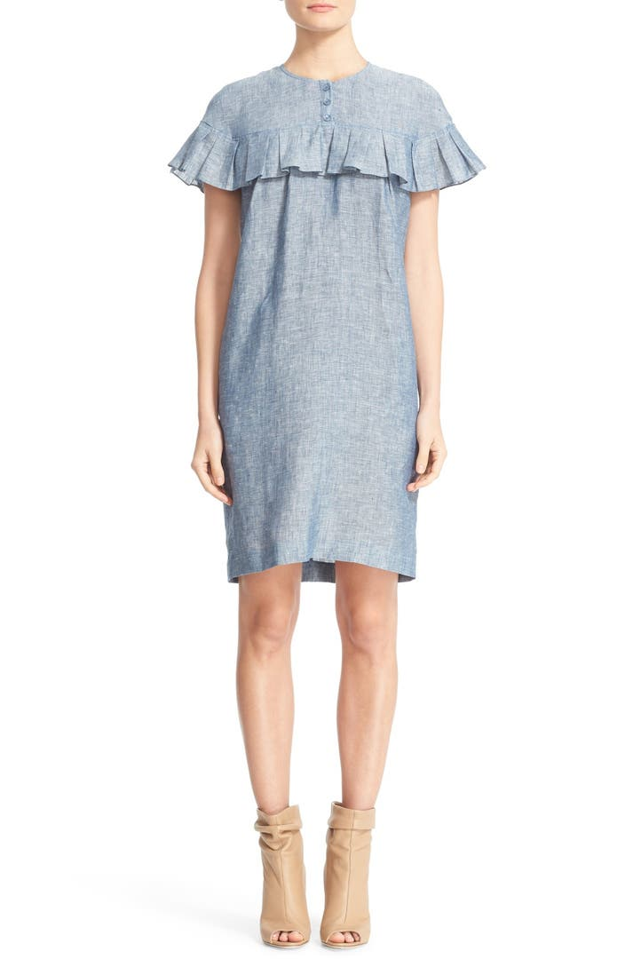 Burberry angela ruffle chambray dress nordstrom for Chambray dress