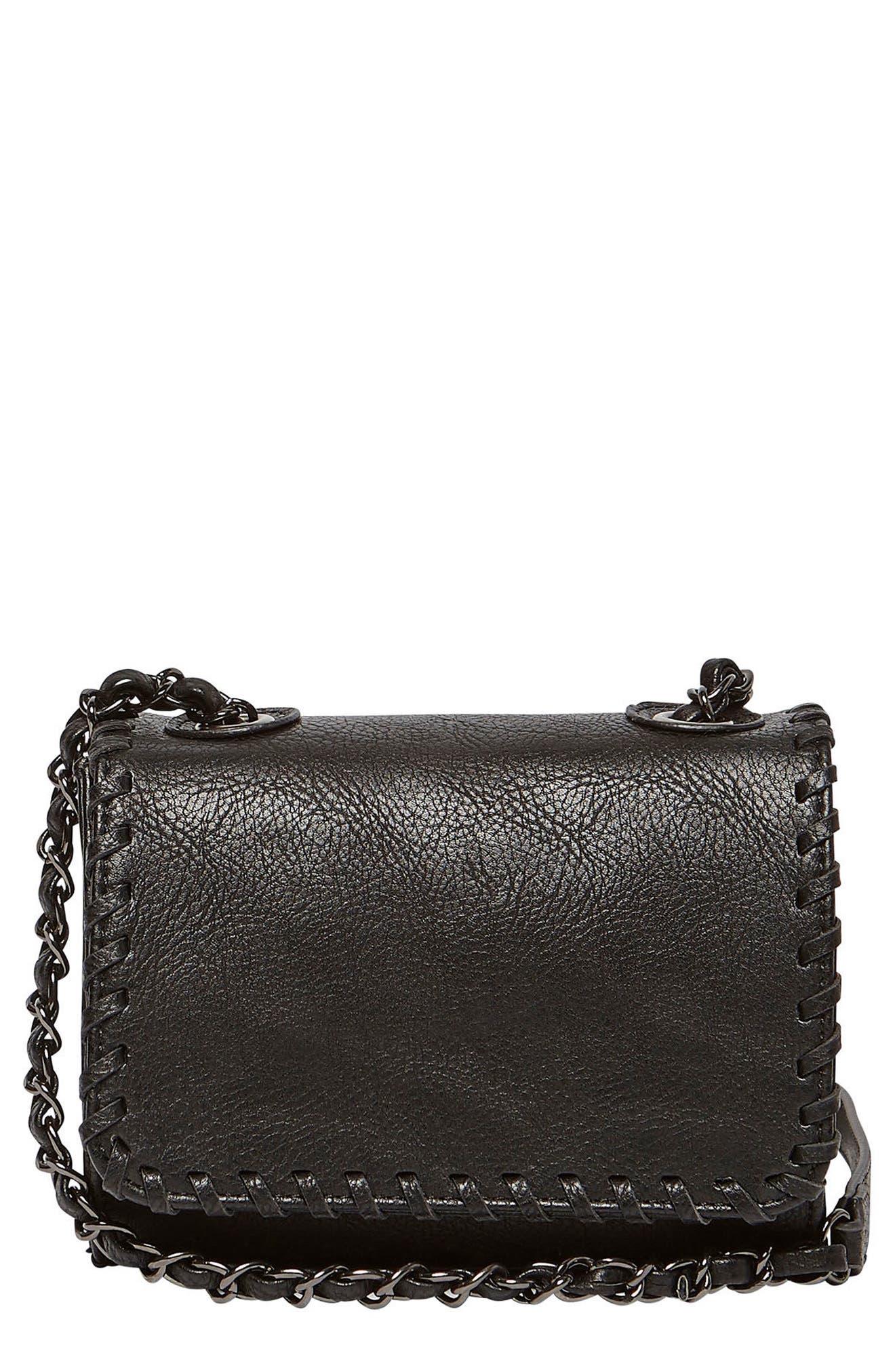 Loveliness Vegan Leather Shoulder Bag,                             Main thumbnail 1, color,                             Black