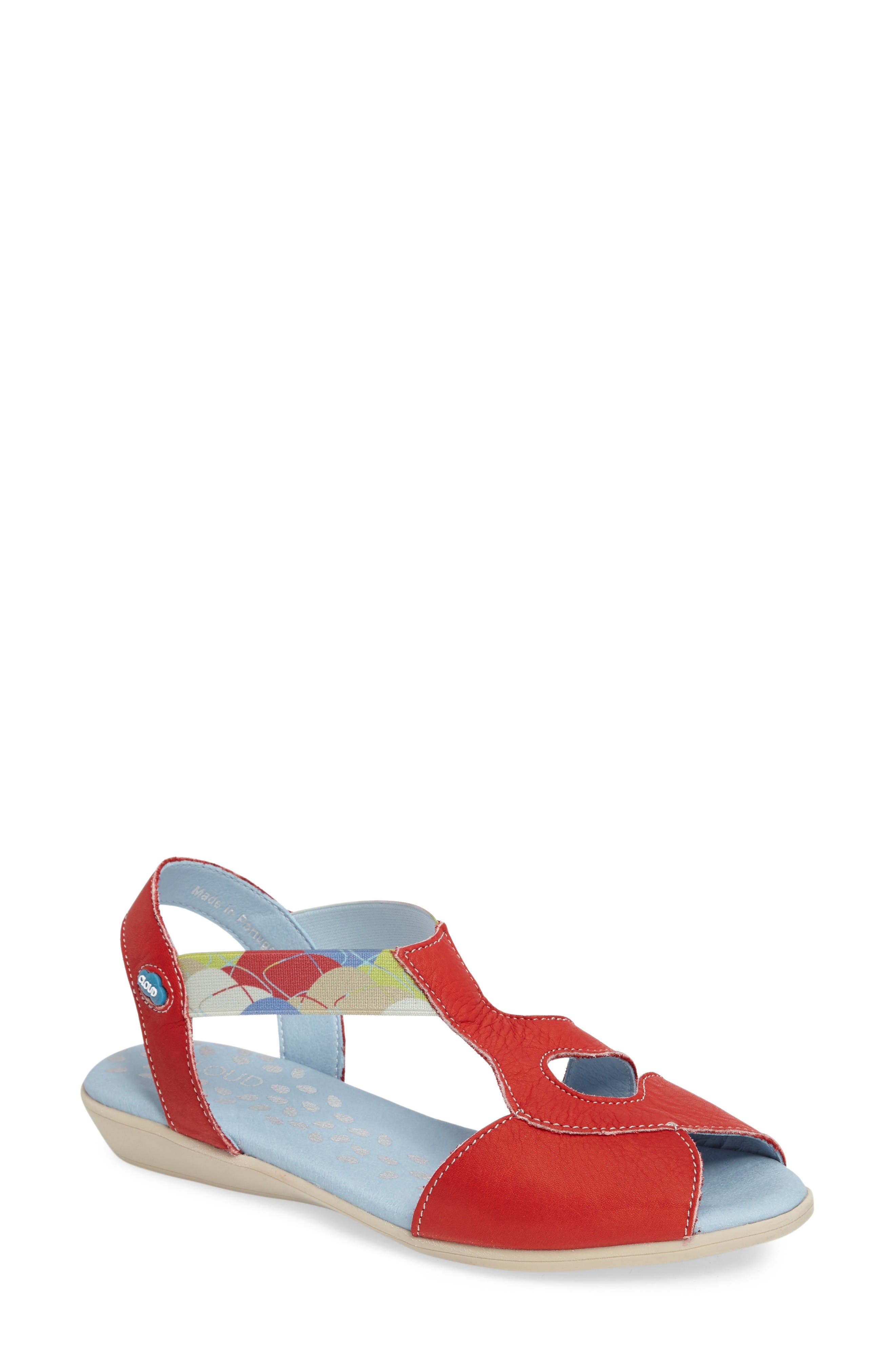 Chaya Sandal,                             Main thumbnail 1, color,                             Red Leather