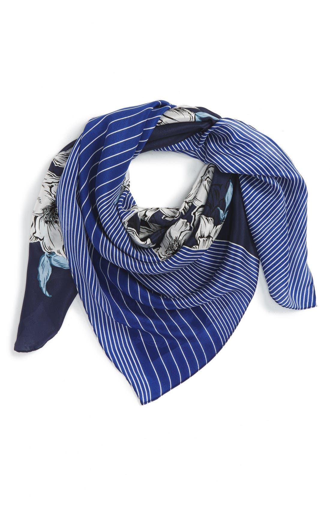 Metro Floral Square Silk Scarf,                             Main thumbnail 1, color,                             Navy- Combo
