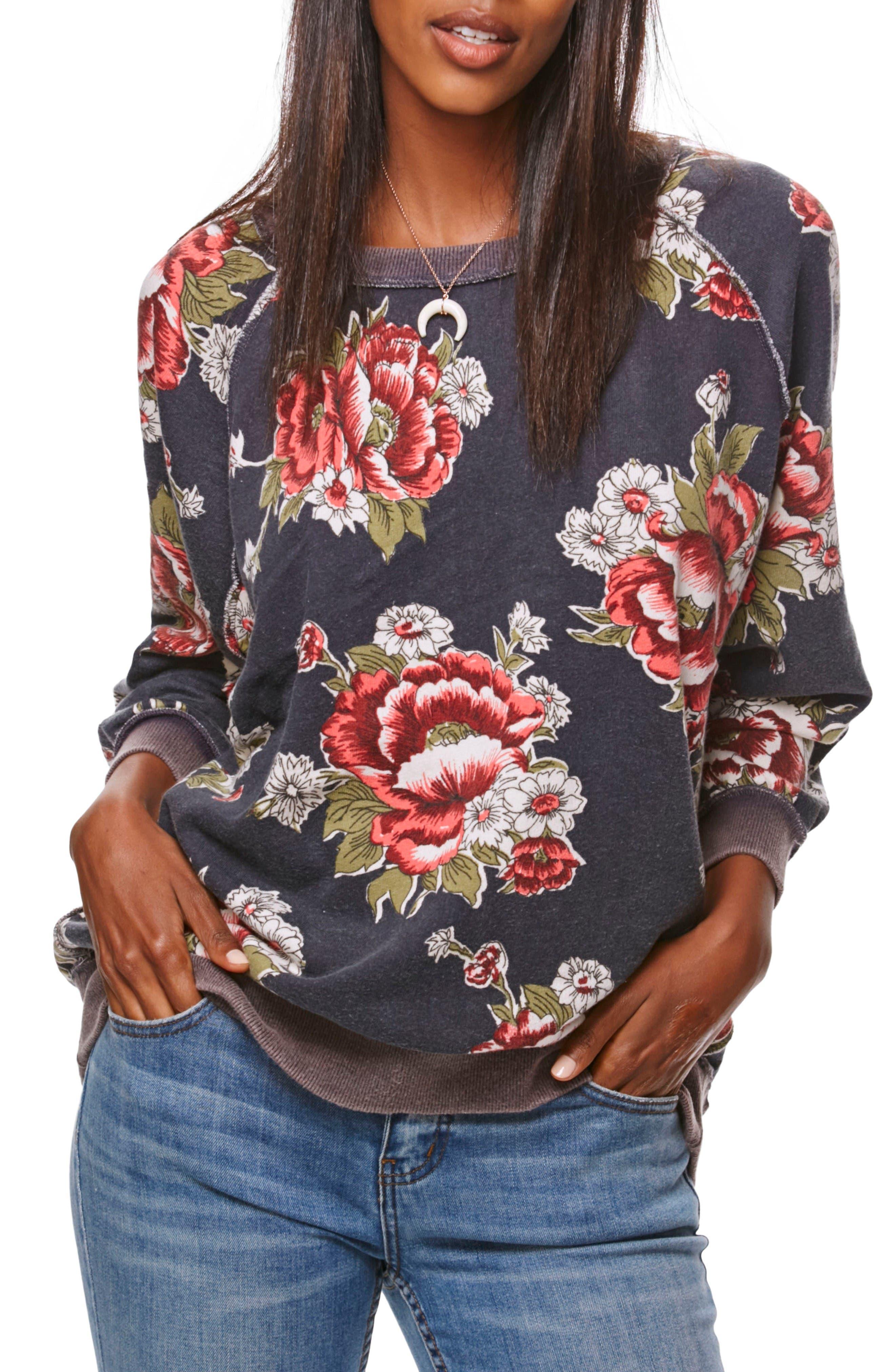 Go on Get Floral Sweatshirt,                             Main thumbnail 1, color,                             Black