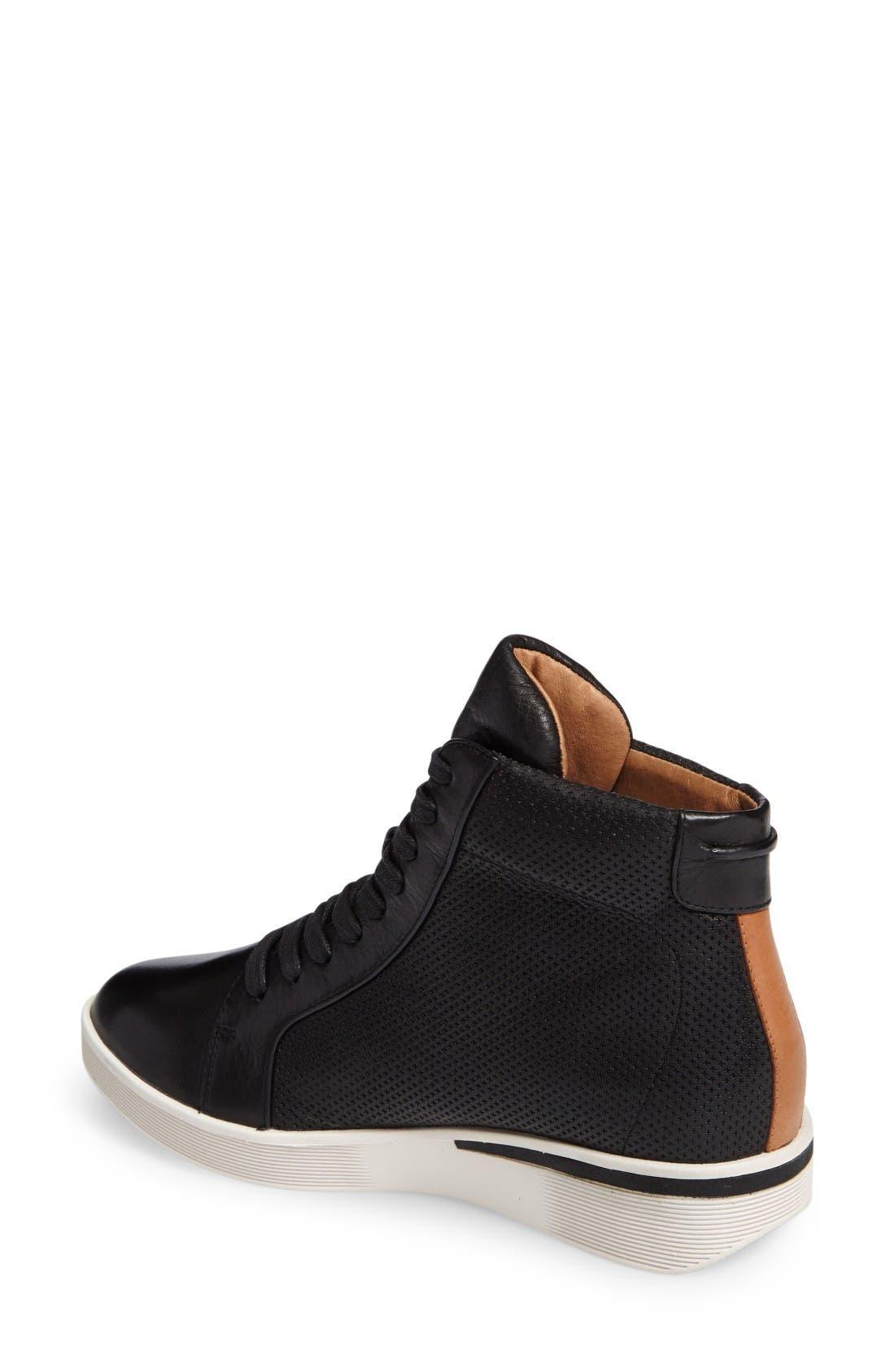 Helka High Top Sneaker,                             Alternate thumbnail 2, color,                             Black Leather