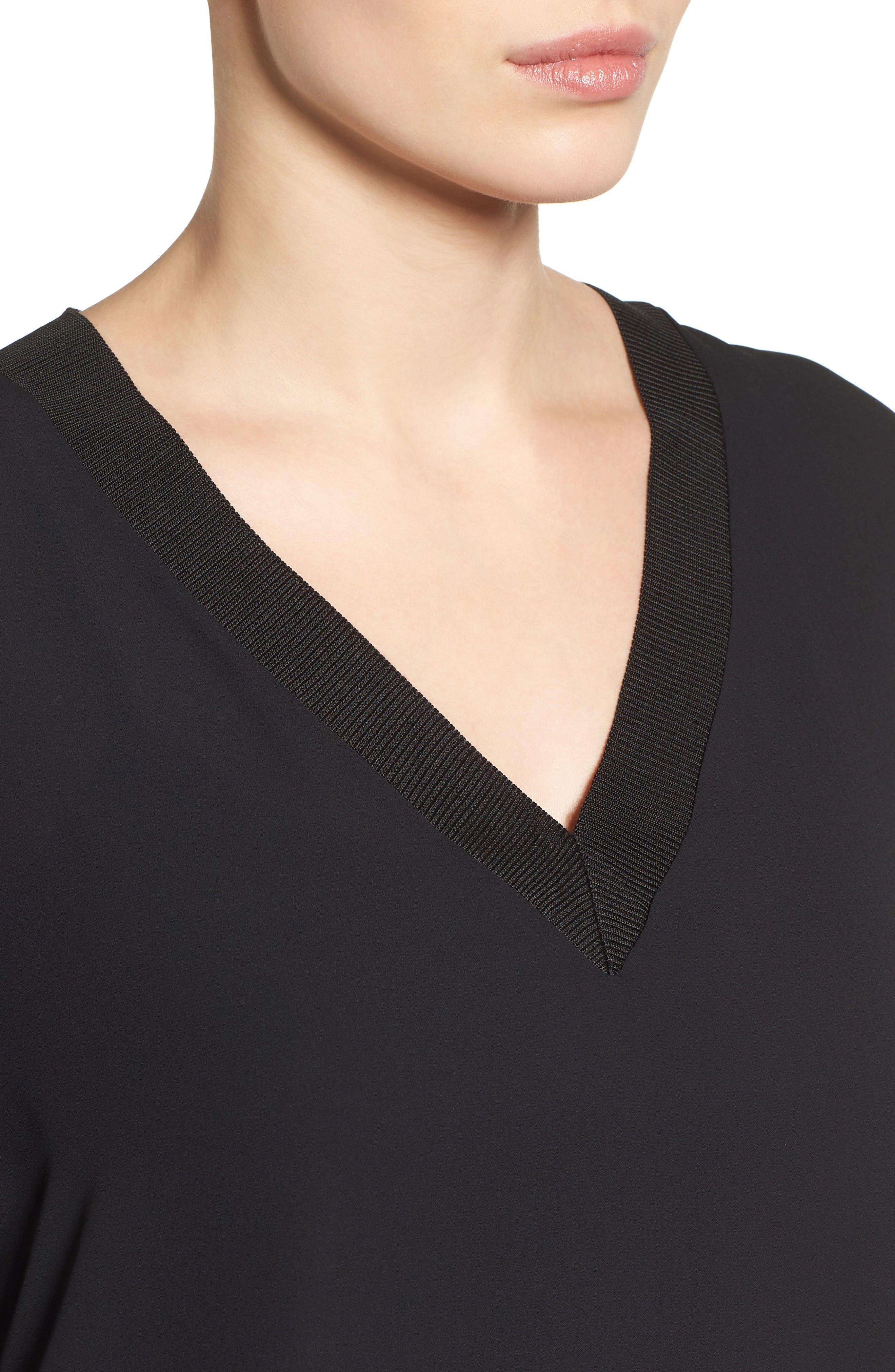 Alternate Image 4  - Halogen® Rib Trim Long Sleeve Blouse