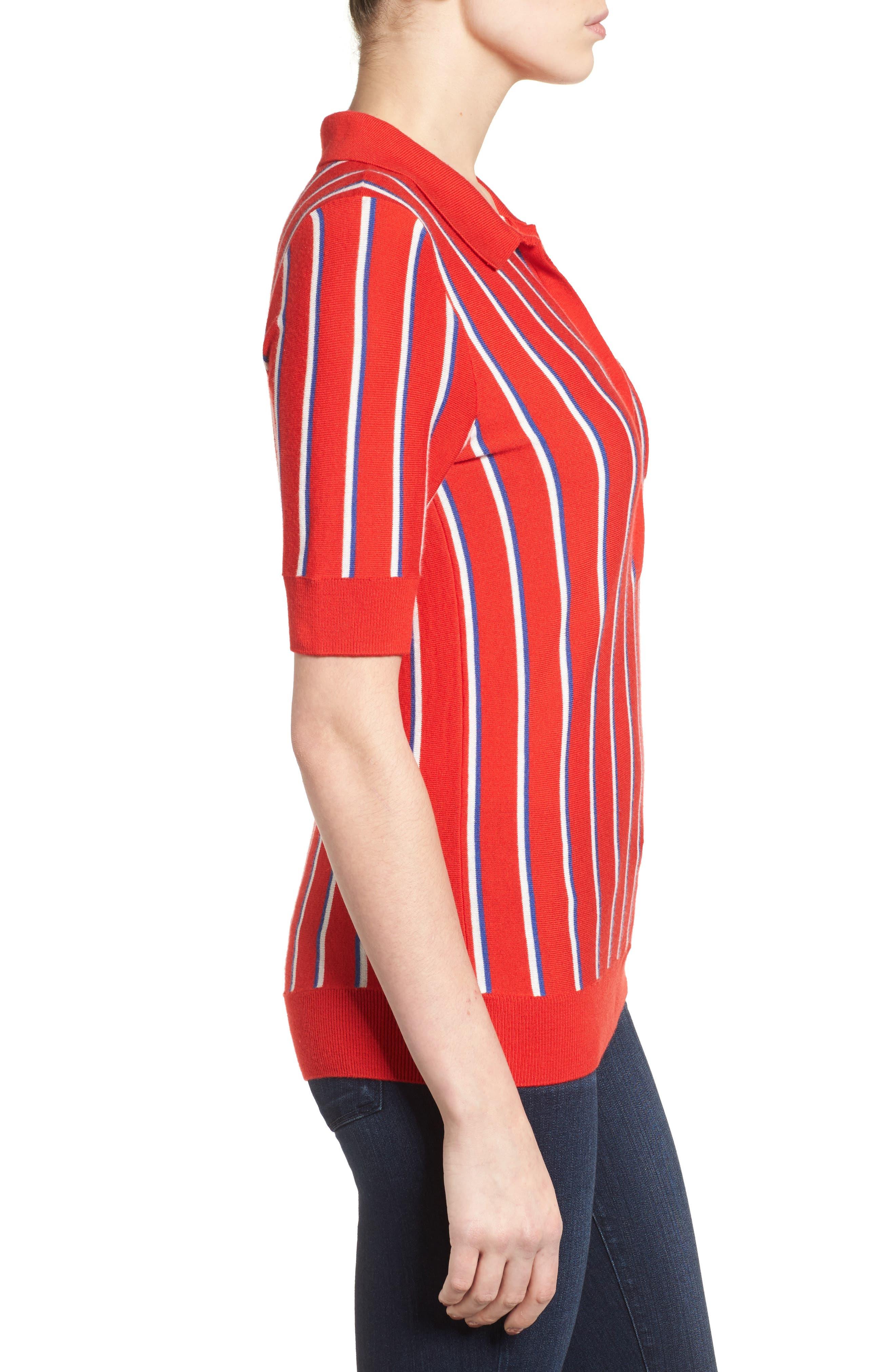 Alternate Image 4  - Halogen® Stripe Polo Sweater (Regular & Petite)