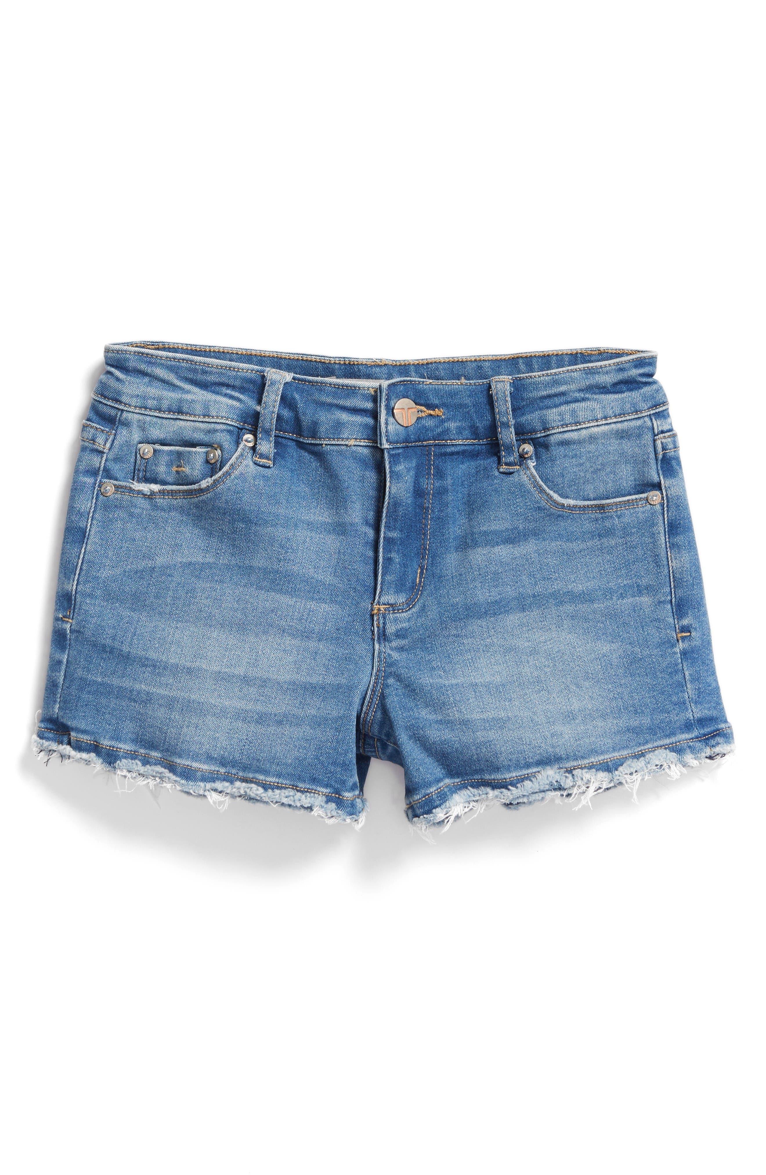 Frayed Hem Denim Shorts,                         Main,                         color, Light Indigo