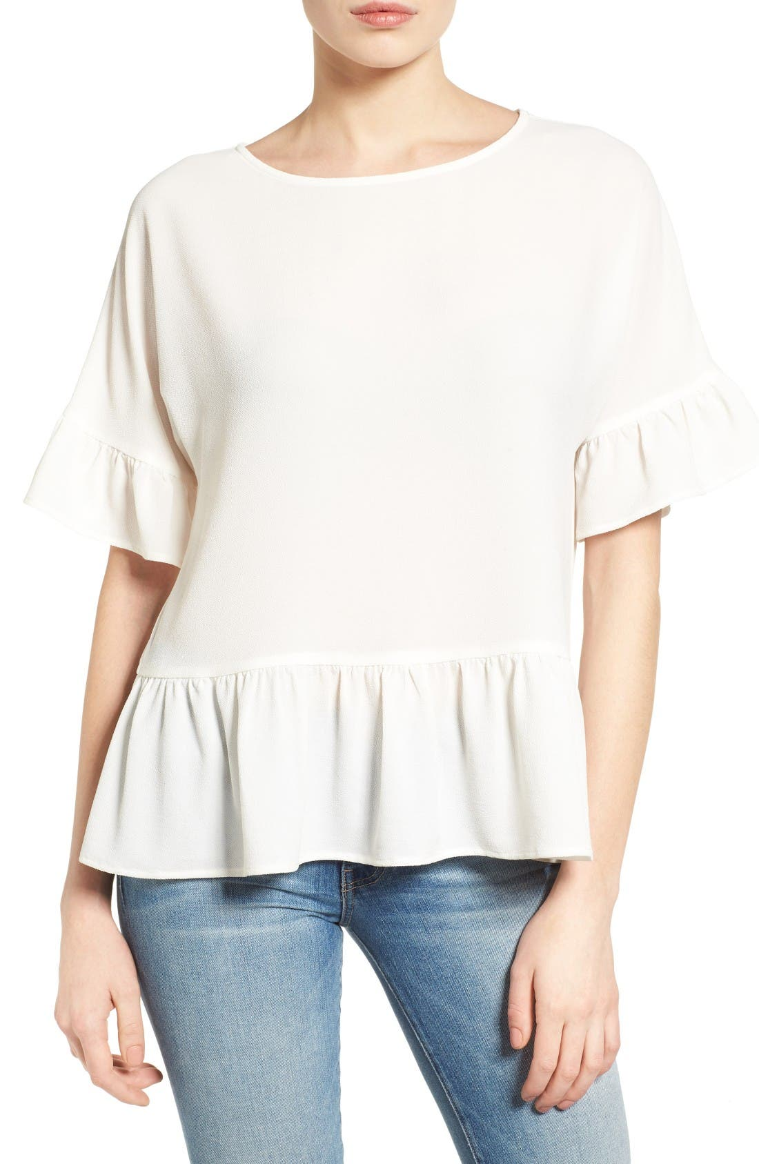 Alternate Image 1 Selected - Gibson Ruffle Hem Top (Regular & Petite)