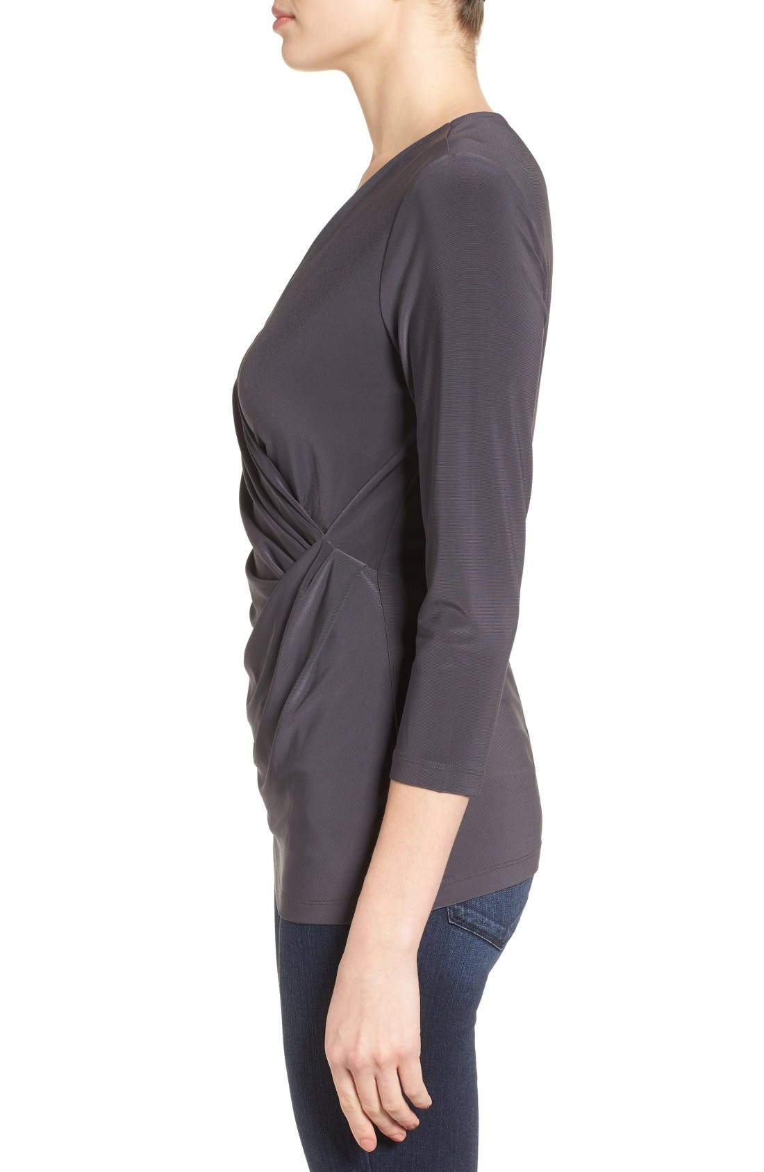 Solid Faux Wrap Top,                             Alternate thumbnail 3, color,                             Phantom