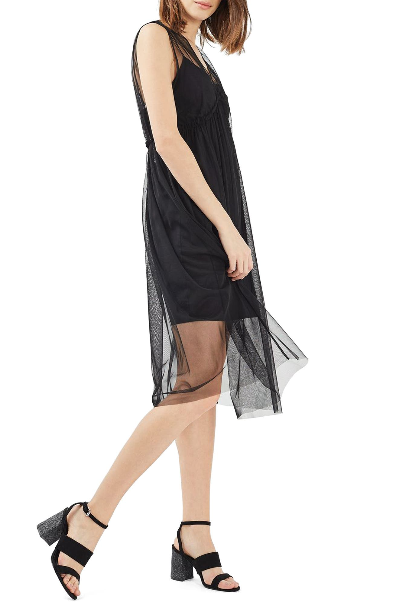 Alternate Image 1 Selected - Topshop Tulle Midi Dress