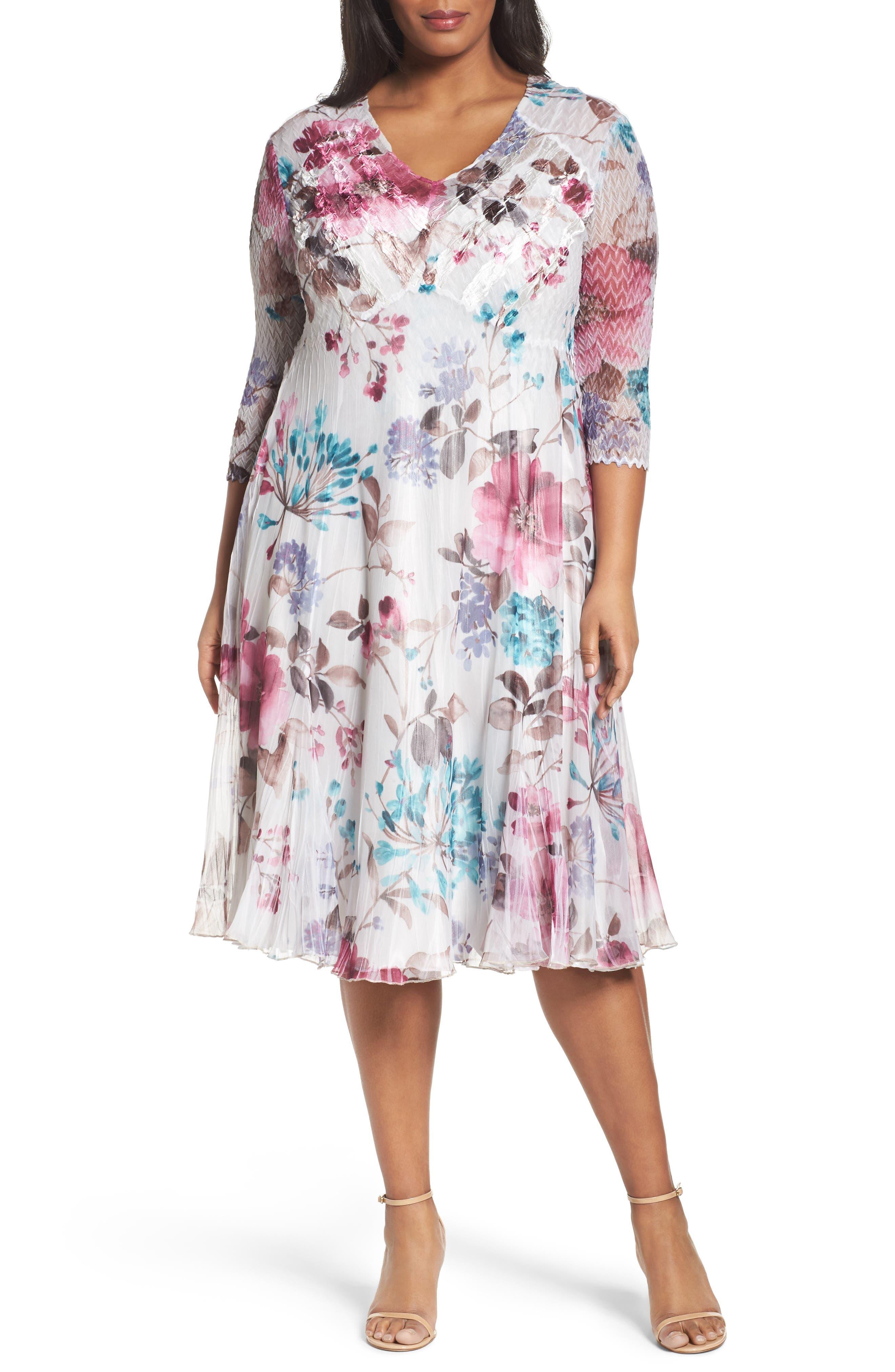 Main Image - Komarov Floral Chiffon & Charmeuse A-Line Dress (Plus Size)