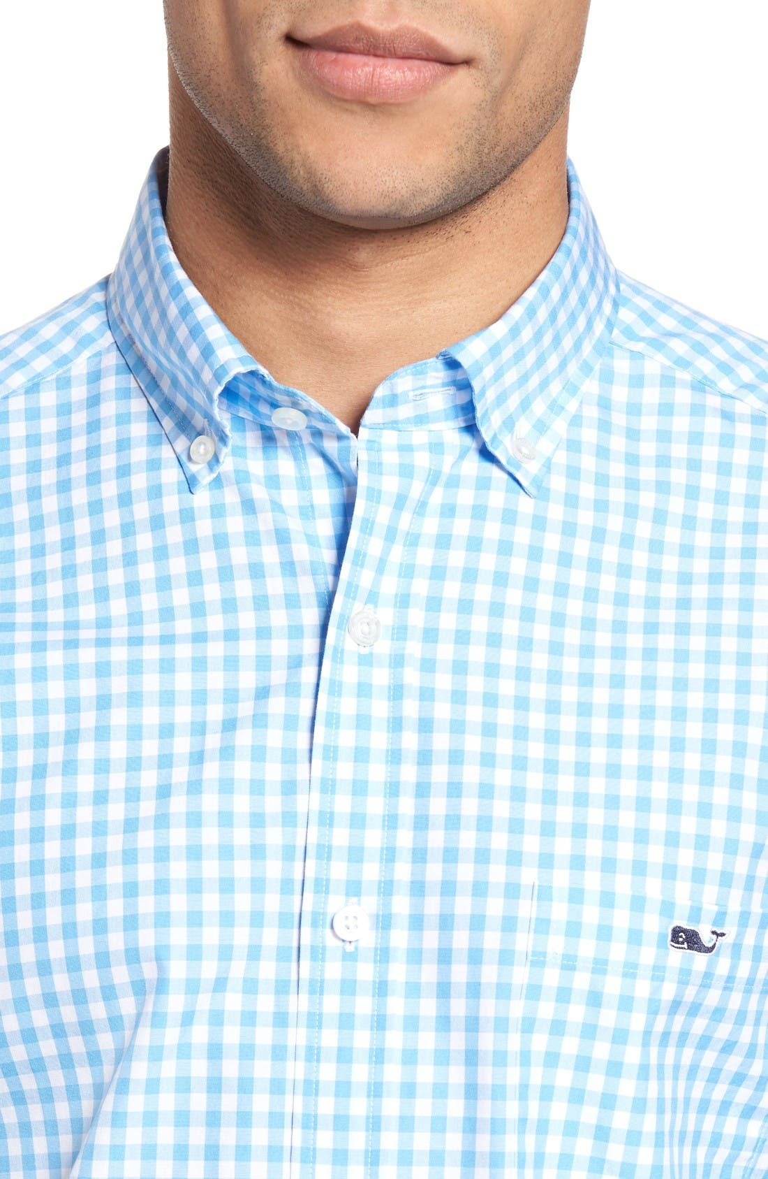 Elmont Gingham Sport Shirt,                             Alternate thumbnail 4, color,                             Ocean Breeze Blue