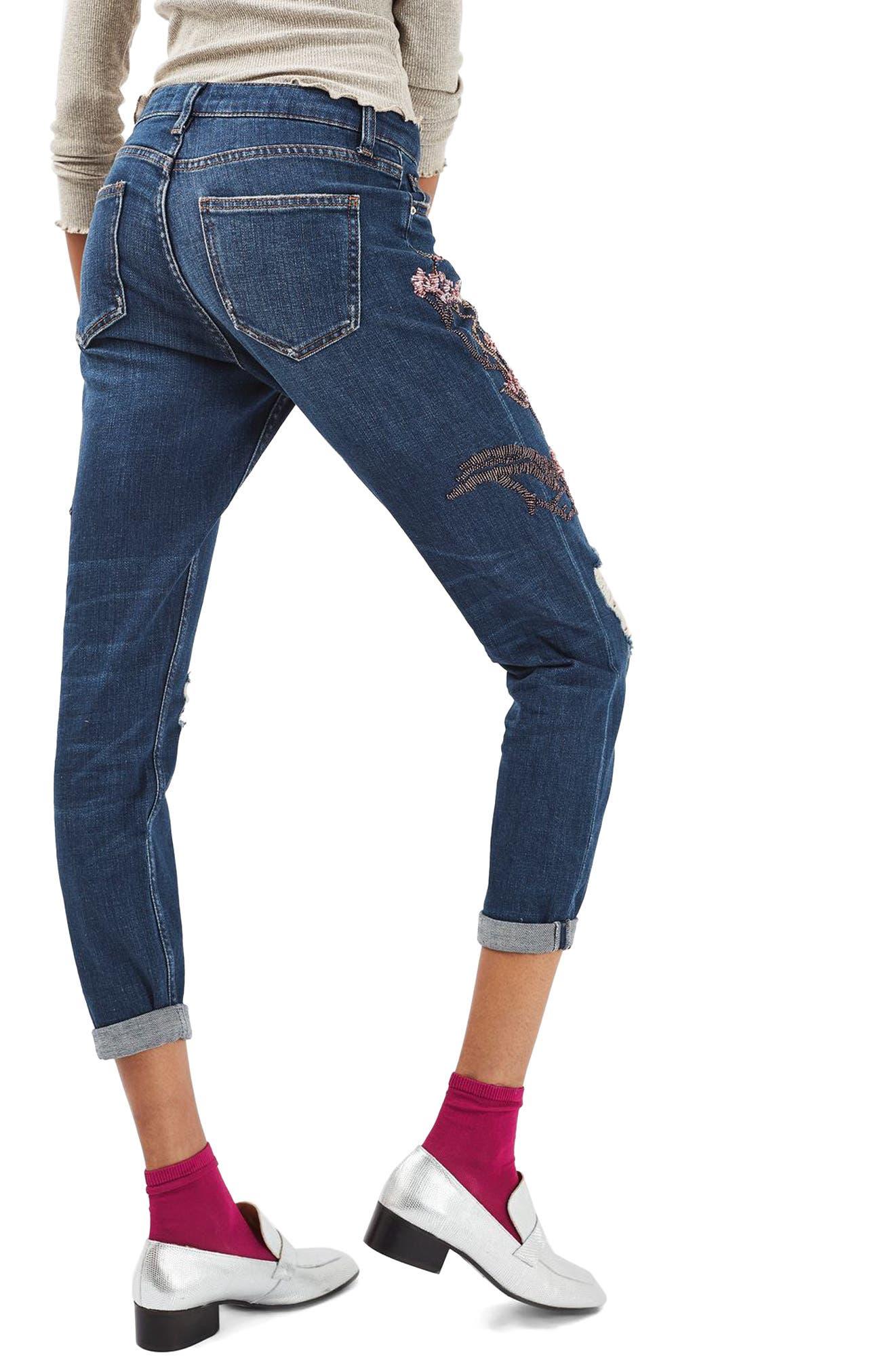 Alternate Image 3  - Topshop Lucas Beaded Boyfriend Jeans (Limited Edition)