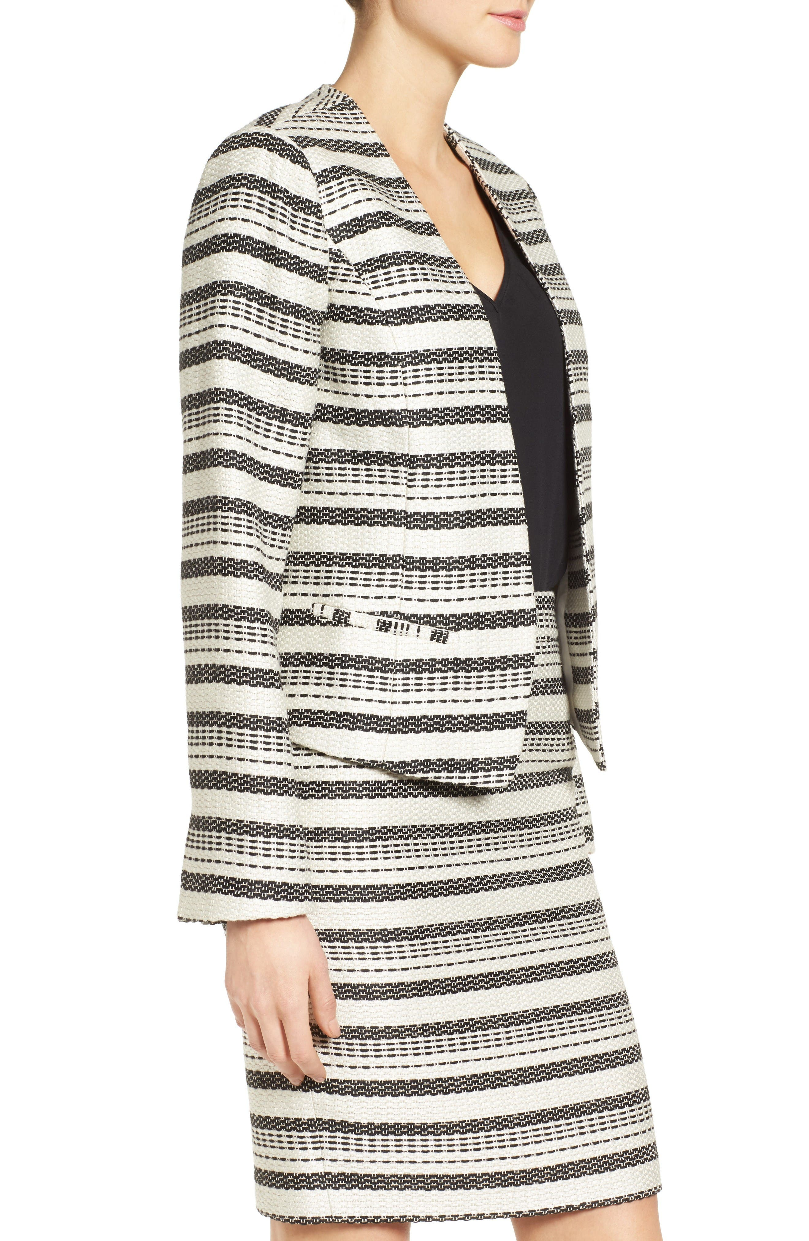 Open Front Jacket,                             Alternate thumbnail 4, color,                             Ivory- Black Tweed