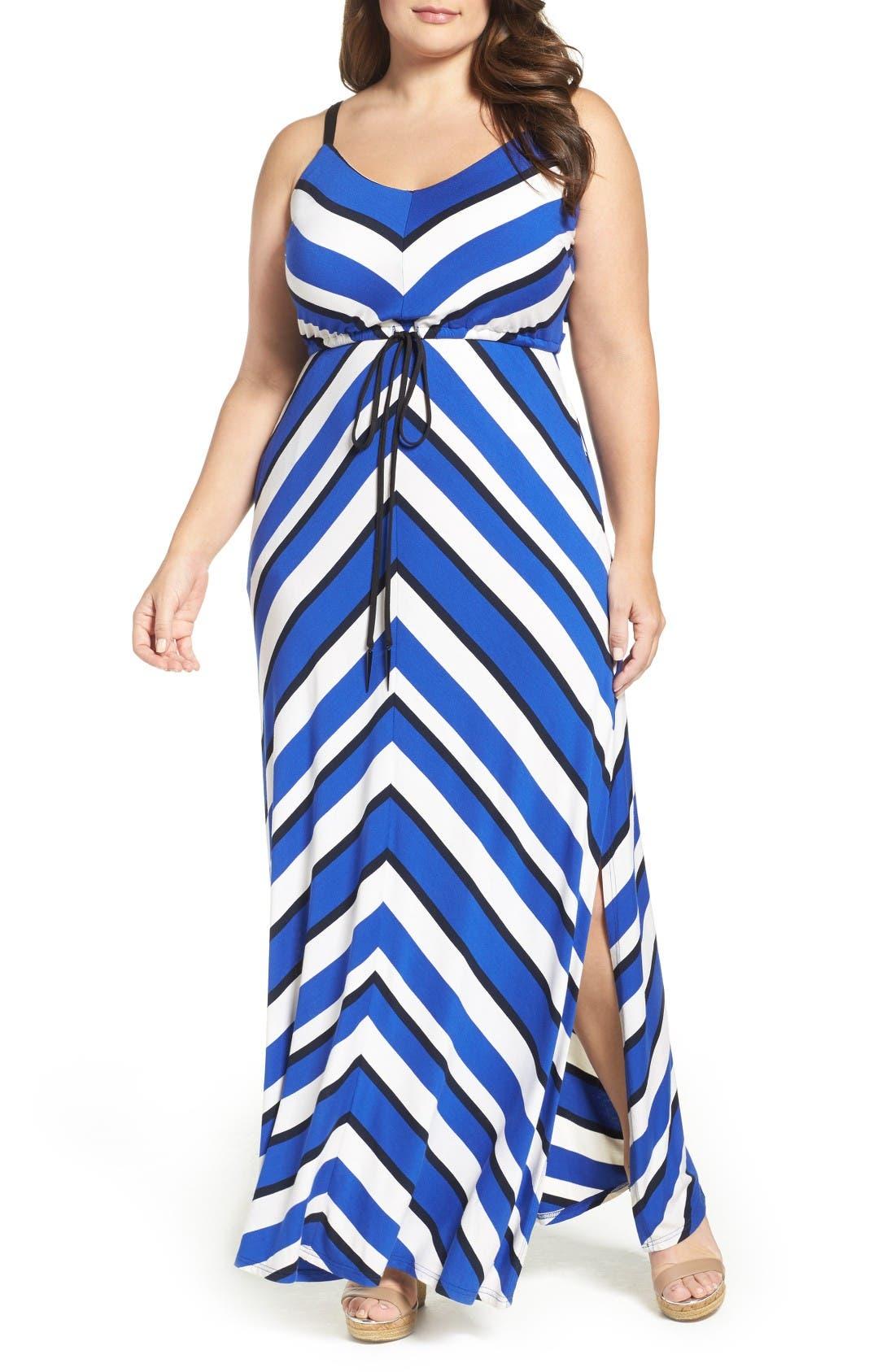 Stripe Maxi Dress,                         Main,                         color, Cobalt